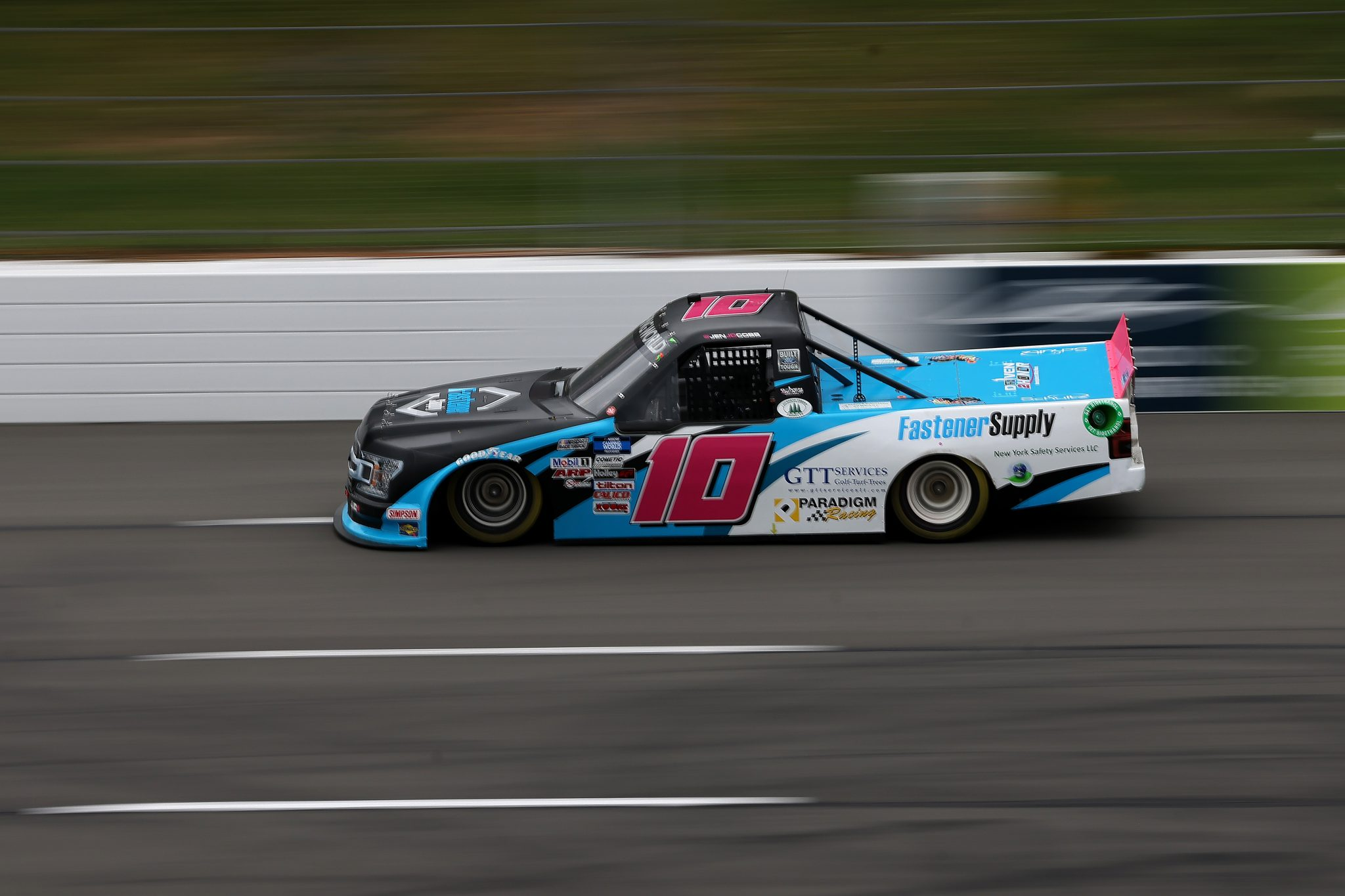 LONG POND, PENNSYLVANIA - JUNE 26: Jennifer Jo Cobb, driver of the #10 Fastener Supply Company Ford, drives during the NASCAR Camping World Truck Series CRC Brakleen 150 at Pocono Raceway on June 26, 2021 in Long Pond, Pennsylvania. (Photo by James Gilbert/Getty Images)   Getty Images