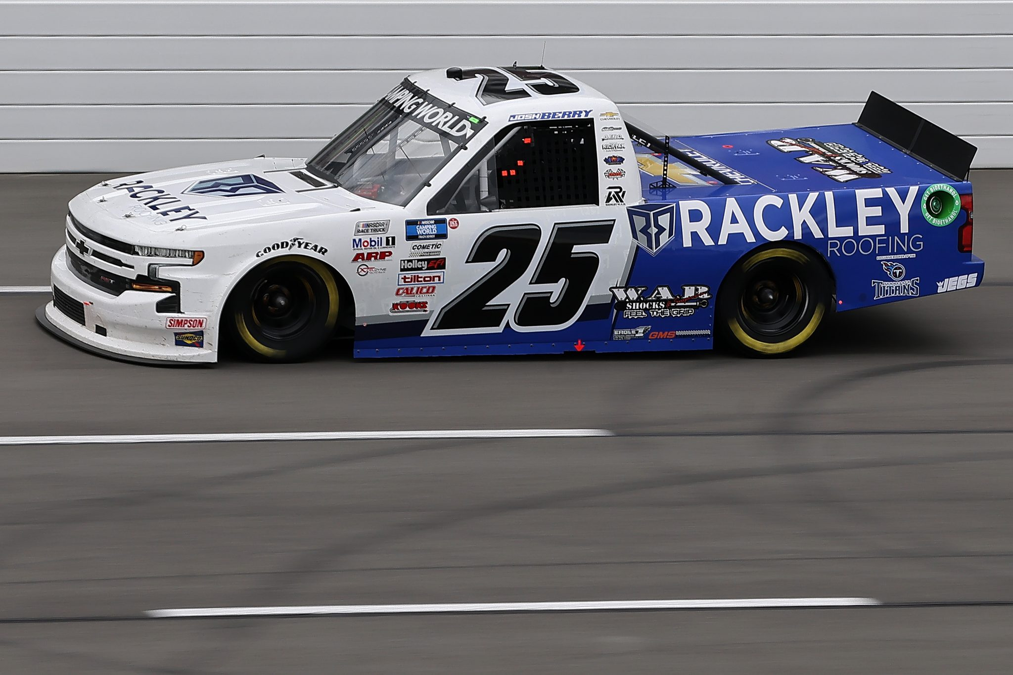 LONG POND, PENNSYLVANIA - JUNE 26: Josh Berry, driver of the #25 Rackley Roofing Chevrolet, drives during the NASCAR Camping World Truck Series CRC Brakleen 150 at Pocono Raceway on June 26, 2021 in Long Pond, Pennsylvania. (Photo by James Gilbert/Getty Images) | Getty Images