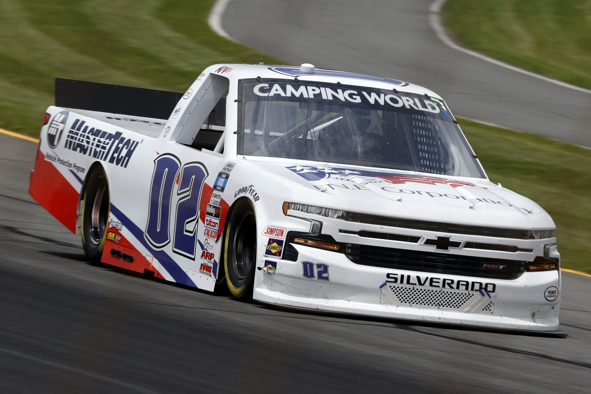 LONG POND, PENNSYLVANIA - JUNE 26: Kris Wright, driver of the #02 MasterTech Chevrolet, drives during the NASCAR Camping World Truck Series CRC Brakleen 150 at Pocono Raceway on June 26, 2021 in Long Pond, Pennsylvania. (Photo by Tim Nwachukwu/Getty Images) | Getty Images