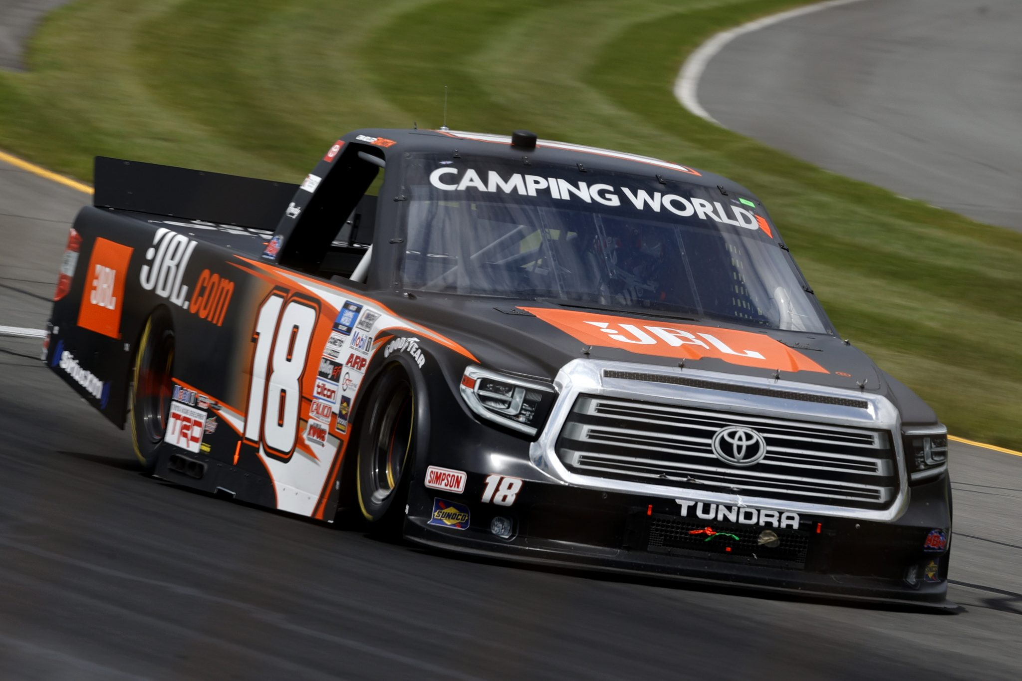 LONG POND, PENNSYLVANIA - JUNE 26: Chandler Smith, driver of the #18 JBL Toyota, drives during the NASCAR Camping World Truck Series CRC Brakleen 150 at Pocono Raceway on June 26, 2021 in Long Pond, Pennsylvania. (Photo by Tim Nwachukwu/Getty Images) | Getty Images