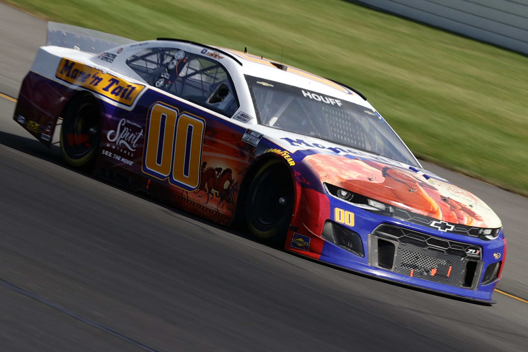 LONG POND, PENNSYLVANIA - JUNE 27: Quin Houff, driver of the #00 Mane 'n Tail/Spirit Unlimited Chevrolet, drives during the NASCAR Cup Series Explore the Pocono Mountains 350 at Pocono Raceway on June 27, 2021 in Long Pond, Pennsylvania. (Photo by Tim Nwachukwu/Getty Images) | Getty Images