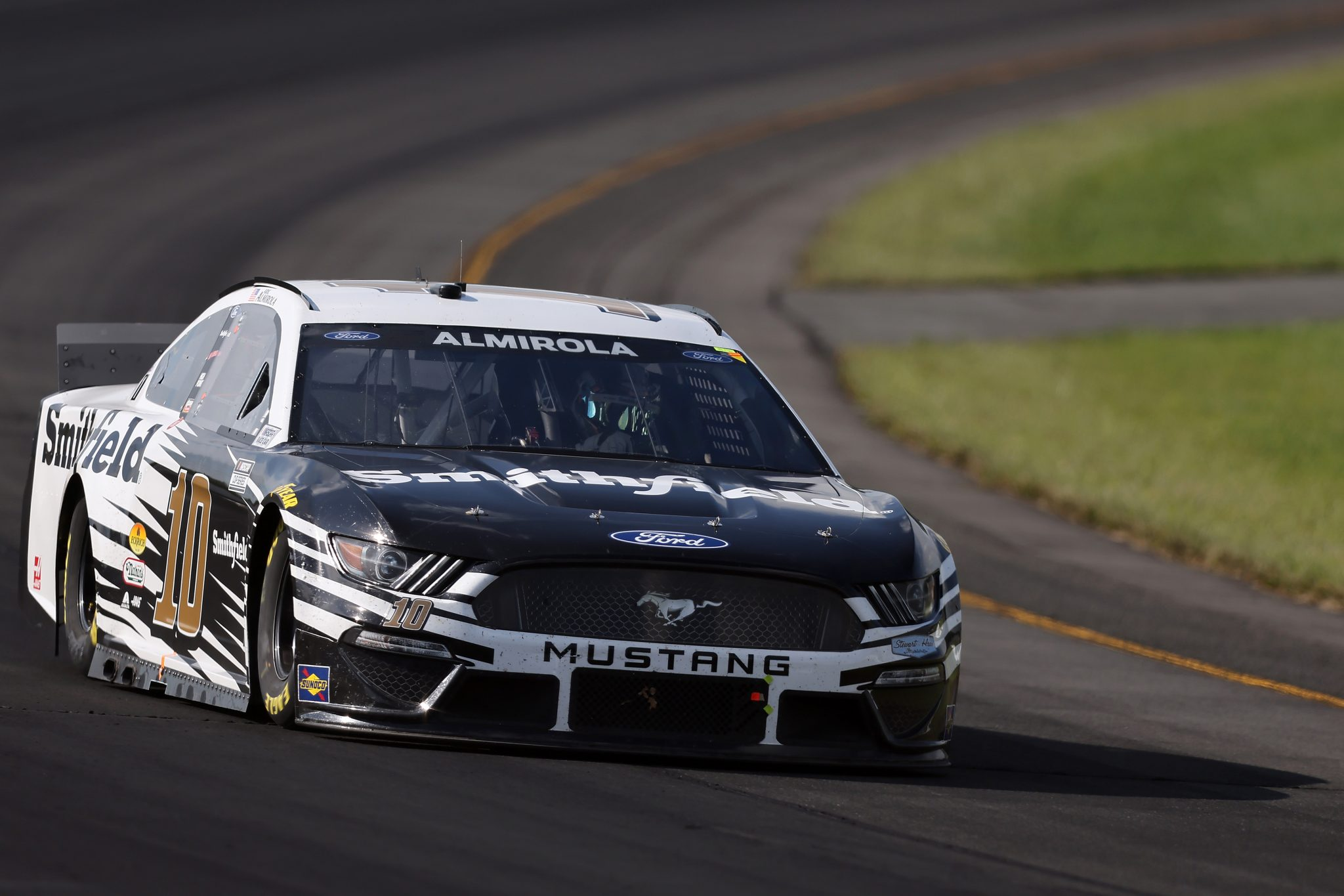 LONG POND, PENNSYLVANIA - JUNE 27: Aric Almirola, driver of the #10 Smithfield Ford, drives during the NASCAR Cup Series Explore the Pocono Mountains 350 at Pocono Raceway on June 27, 2021 in Long Pond, Pennsylvania. (Photo by James Gilbert/Getty Images) | Getty Images