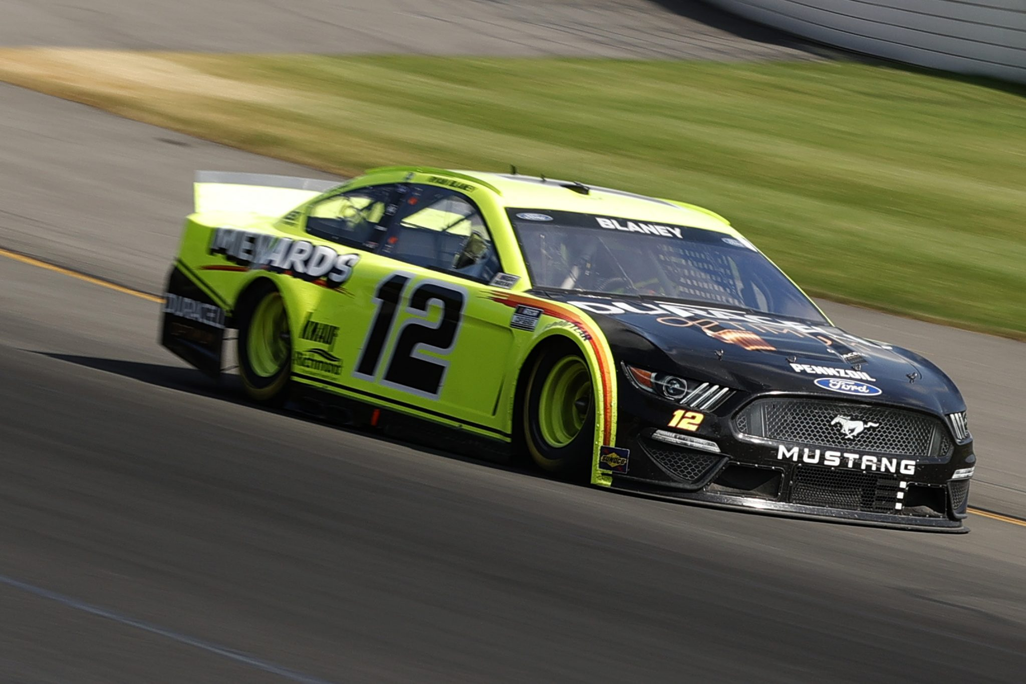 LONG POND, PENNSYLVANIA - JUNE 27: Ryan Blaney, driver of the #12 Menards/Duracell Ford, drives during the NASCAR Cup Series Explore the Pocono Mountains 350 at Pocono Raceway on June 27, 2021 in Long Pond, Pennsylvania. (Photo by Tim Nwachukwu/Getty Images) | Getty Images