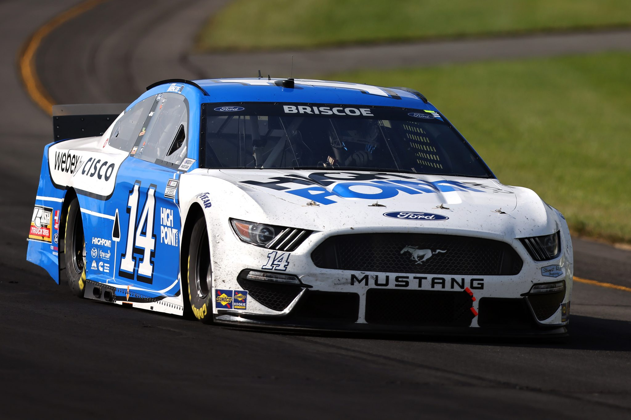 LONG POND, PENNSYLVANIA - JUNE 27: Chase Briscoe, driver of the #14 HighPoint.com/Webex by Cisco Ford, drives during the NASCAR Cup Series Explore the Pocono Mountains 350 at Pocono Raceway on June 27, 2021 in Long Pond, Pennsylvania. (Photo by James Gilbert/Getty Images) | Getty Images