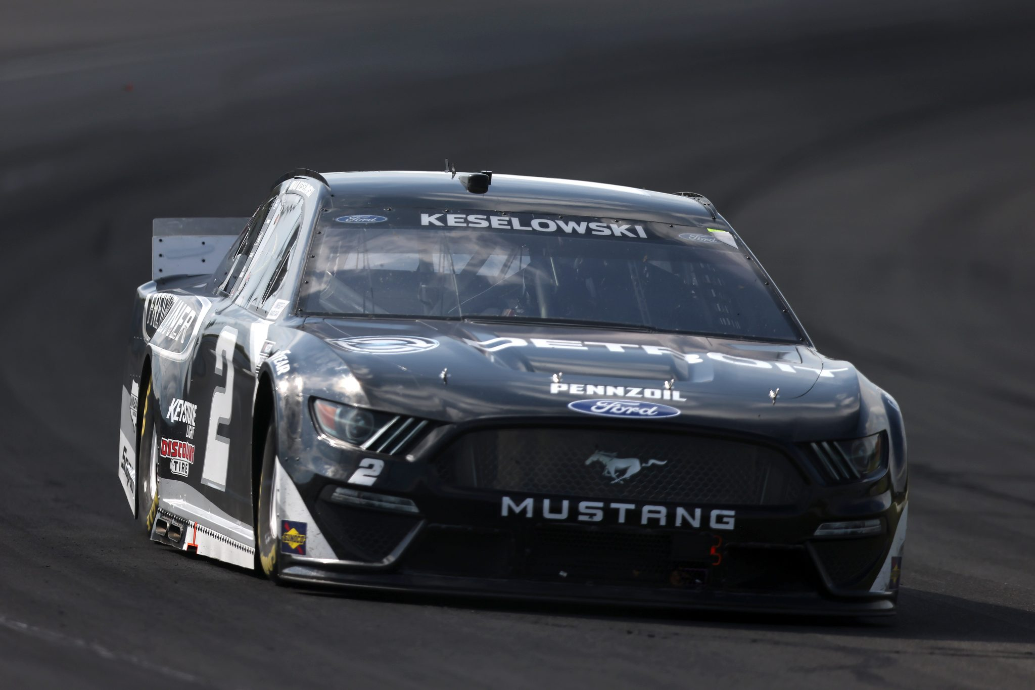 LONG POND, PENNSYLVANIA - JUNE 27: Brad Keselowski, driver of the #2 Detroit Engines Ford, drives during the NASCAR Cup Series Explore the Pocono Mountains 350 at Pocono Raceway on June 27, 2021 in Long Pond, Pennsylvania. (Photo by James Gilbert/Getty Images) | Getty Images