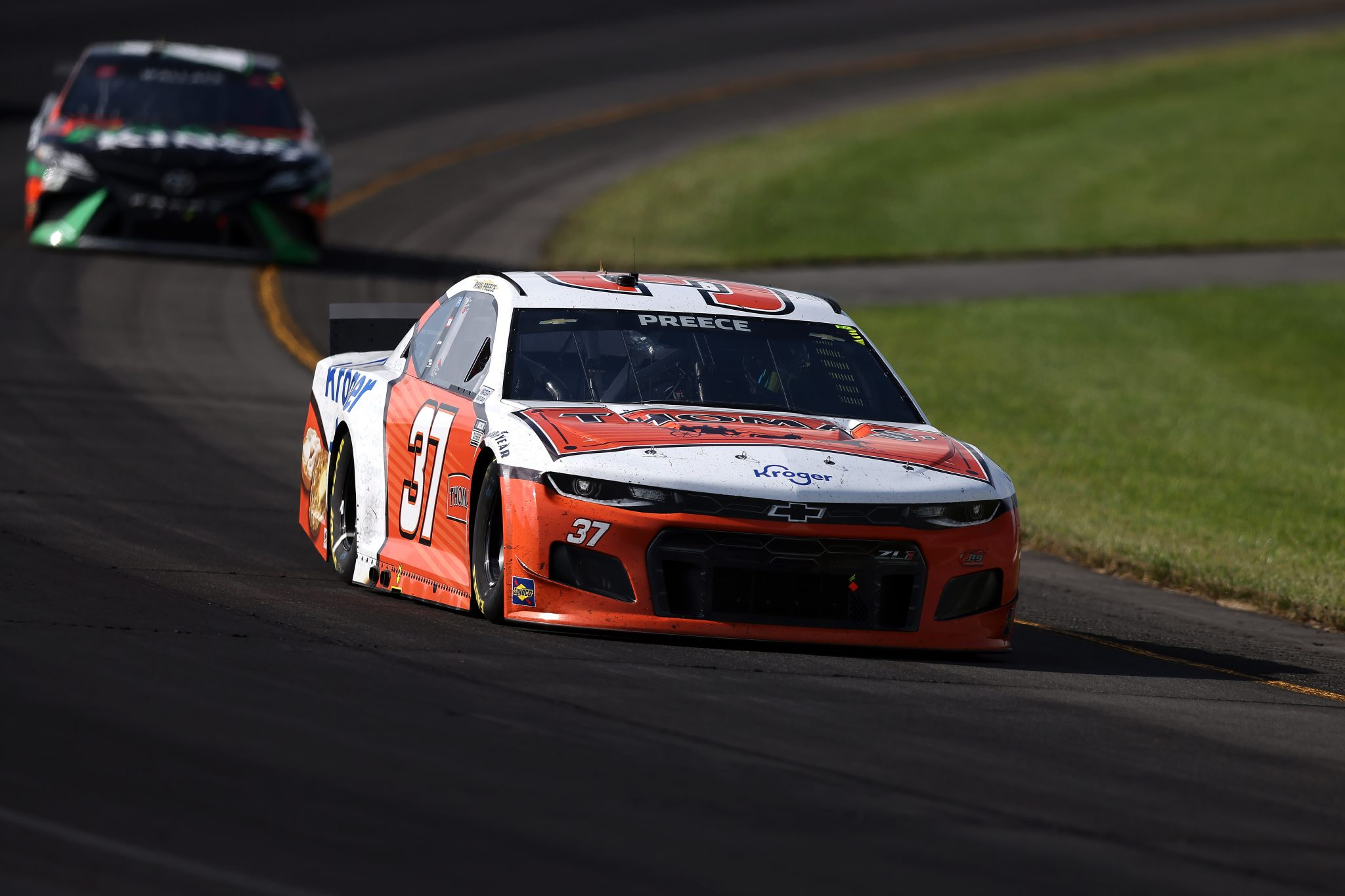 LONG POND, PENNSYLVANIA - JUNE 27: Ryan Preece, driver of the #37 Thomas'/Kroger Chevrolet, drives during the NASCAR Cup Series Explore the Pocono Mountains 350 at Pocono Raceway on June 27, 2021 in Long Pond, Pennsylvania. (Photo by James Gilbert/Getty Images) | Getty Images