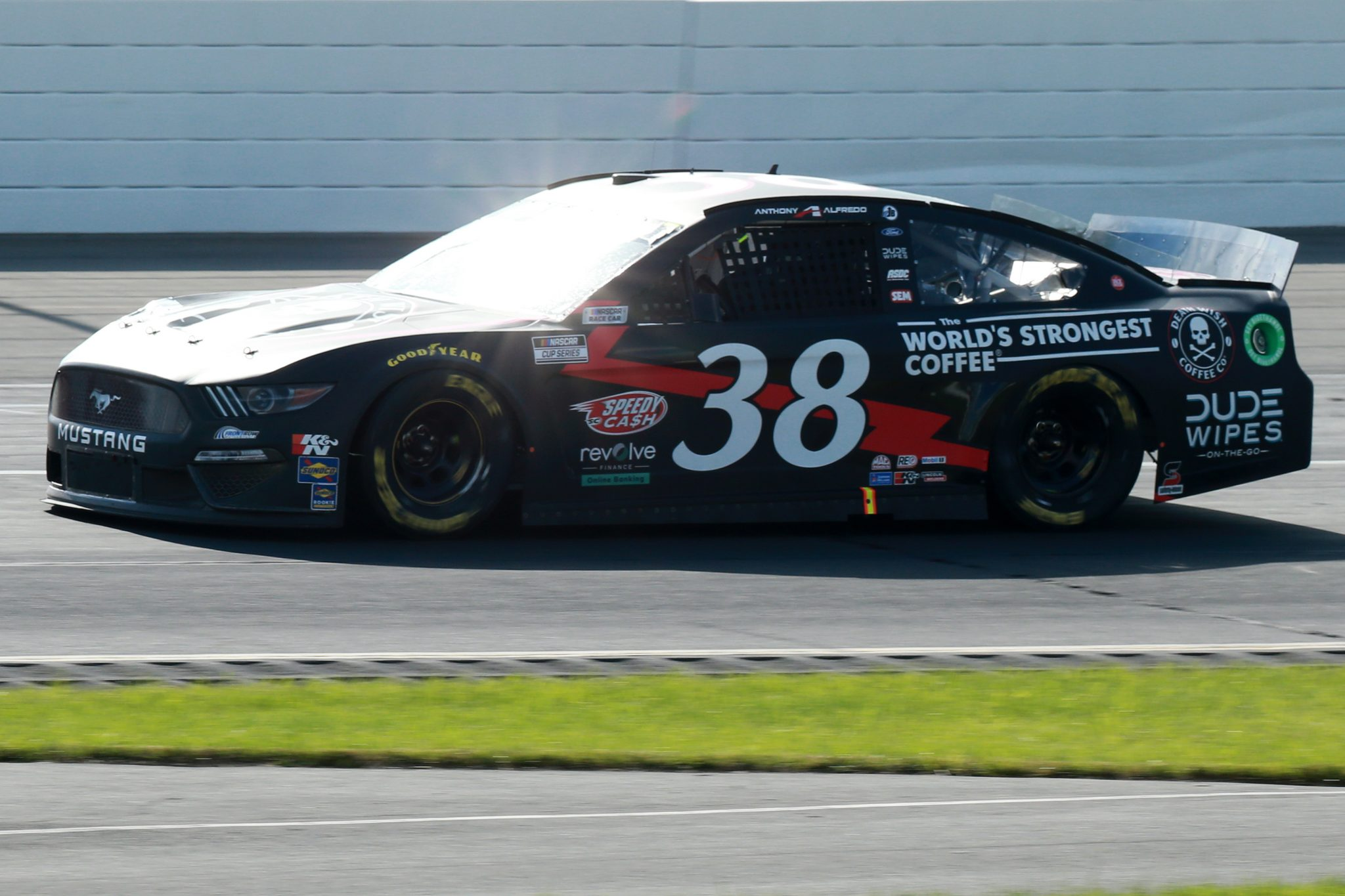 LONG POND, PENNSYLVANIA - JUNE 27: Anthony Alfredo, driver of the #38 Death Wish Coffee Ford, drives during the NASCAR Cup Series Explore the Pocono Mountains 350 at Pocono Raceway on June 27, 2021 in Long Pond, Pennsylvania. (Photo by Sean Gardner/Getty Images) | Getty Images