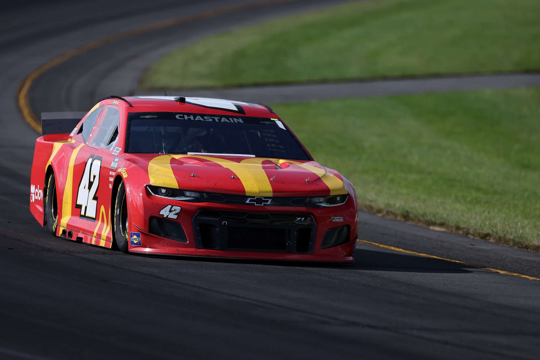 LONG POND, PENNSYLVANIA - JUNE 27: Ross Chastain, driver of the #42 McDonald's Chevrolet, drives during the NASCAR Cup Series Explore the Pocono Mountains 350 at Pocono Raceway on June 27, 2021 in Long Pond, Pennsylvania. (Photo by James Gilbert/Getty Images) | Getty Images