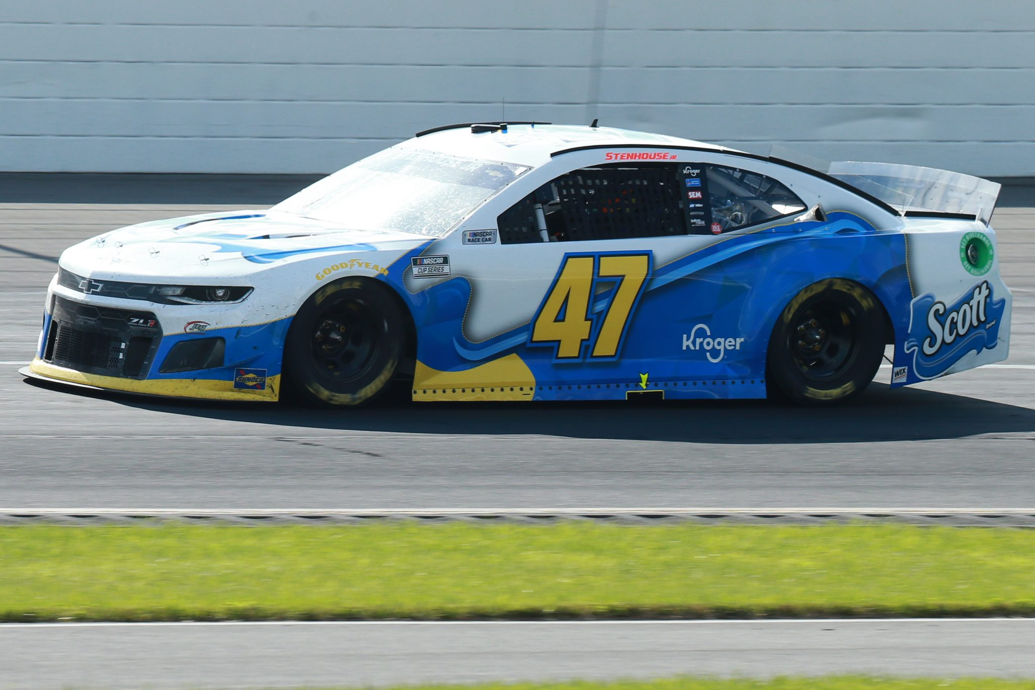 LONG POND, PENNSYLVANIA - JUNE 27: Ricky Stenhouse Jr., driver of the #47 Scott Brand Chevrolet, drives during the NASCAR Cup Series Explore the Pocono Mountains 350 at Pocono Raceway on June 27, 2021 in Long Pond, Pennsylvania. (Photo by Sean Gardner/Getty Images) | Getty Images