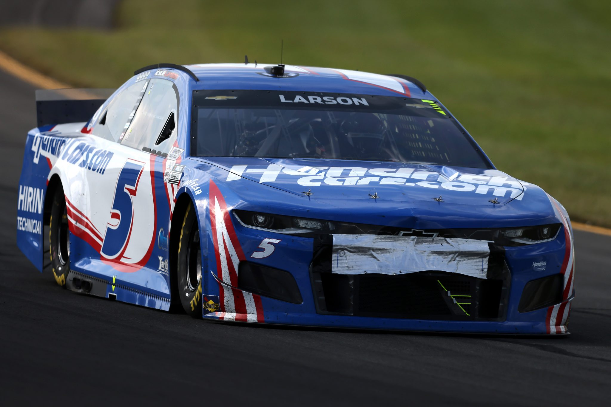 LONG POND, PENNSYLVANIA - JUNE 27: Kyle Larson, driver of the #5 HendrickCars.com Chevrolet, drives during the NASCAR Cup Series Explore the Pocono Mountains 350 at Pocono Raceway on June 27, 2021 in Long Pond, Pennsylvania. (Photo by James Gilbert/Getty Images) | Getty Images