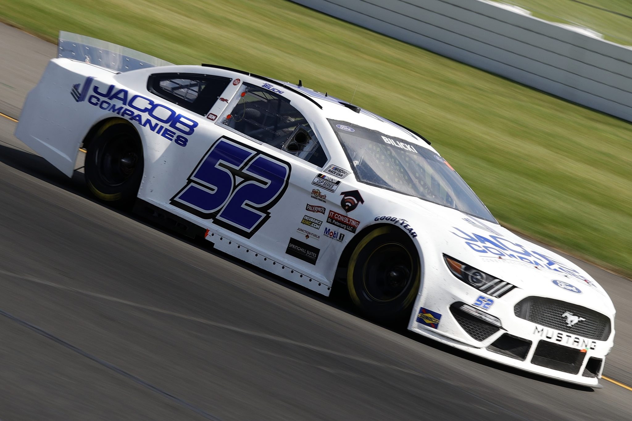 LONG POND, PENNSYLVANIA - JUNE 27: Josh Bilicki, driver of the #52 Jacob Companies Ford, drives during the NASCAR Cup Series Explore the Pocono Mountains 350 at Pocono Raceway on June 27, 2021 in Long Pond, Pennsylvania. (Photo by Tim Nwachukwu/Getty Images) | Getty Images