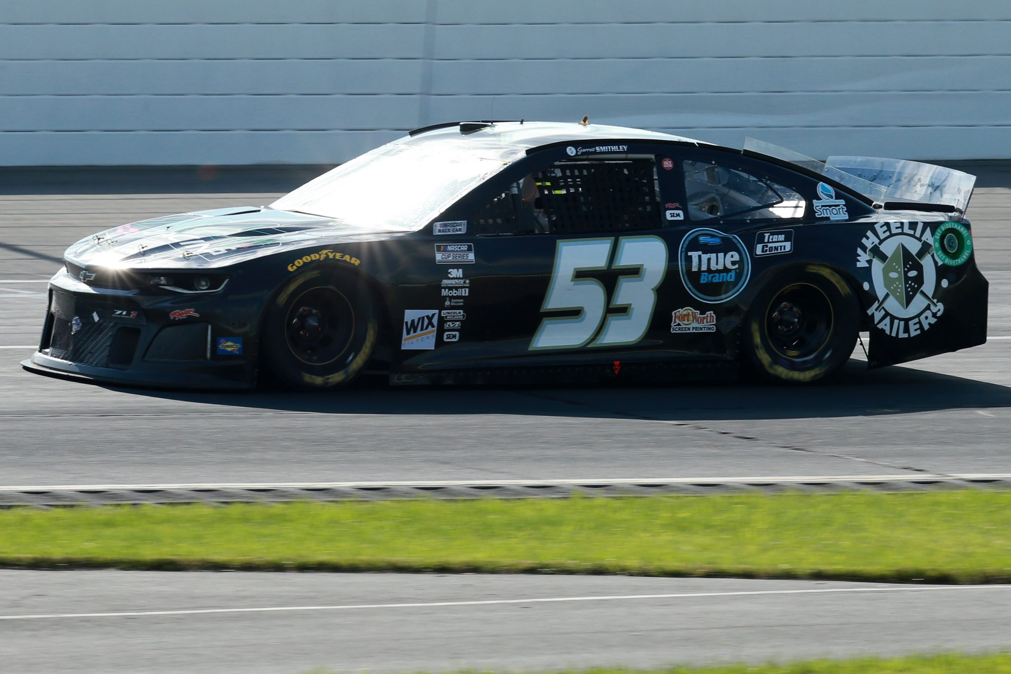 LONG POND, PENNSYLVANIA - JUNE 27: Garrett Smithley, driver of the #53 RichMar Florists Chevrolet, drives during the NASCAR Cup Series Explore the Pocono Mountains 350 at Pocono Raceway on June 27, 2021 in Long Pond, Pennsylvania. (Photo by Sean Gardner/Getty Images) | Getty Images