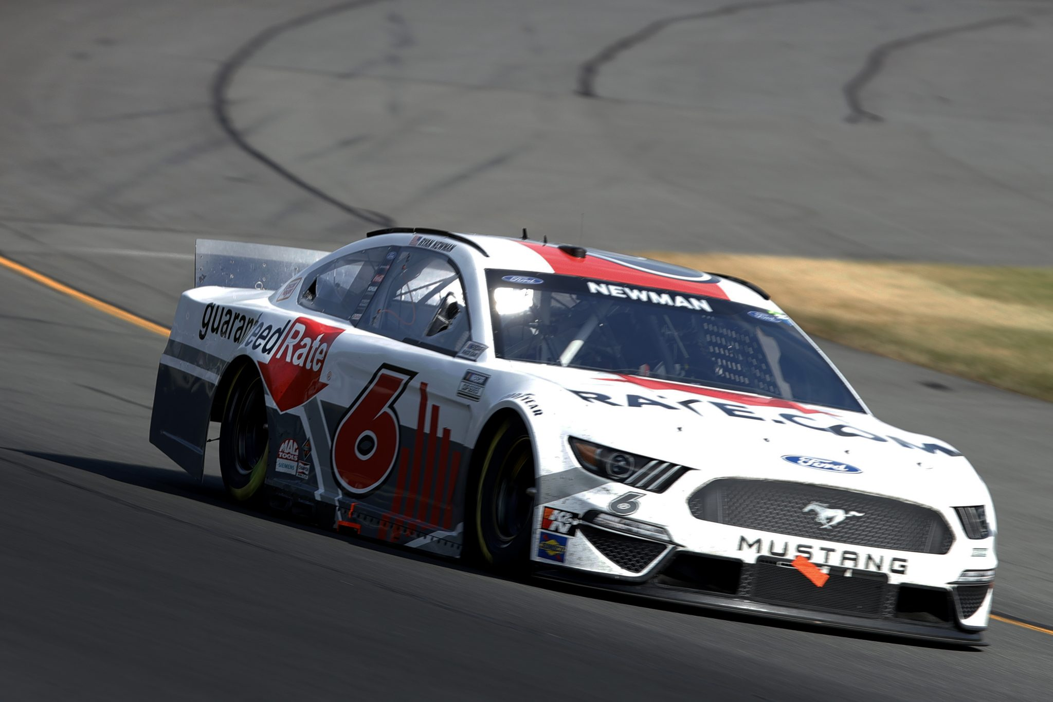 LONG POND, PENNSYLVANIA - JUNE 27: Ryan Newman, driver of the #6 Guaranteed Rate Ford, drives during the NASCAR Cup Series Explore the Pocono Mountains 350 at Pocono Raceway on June 27, 2021 in Long Pond, Pennsylvania. (Photo by Tim Nwachukwu/Getty Images) | Getty Images