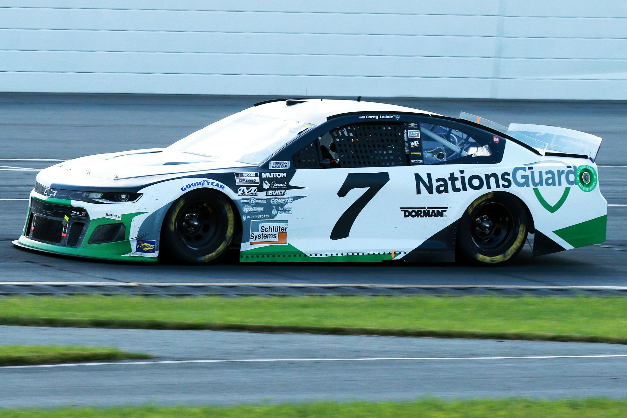 LONG POND, PENNSYLVANIA - JUNE 27: Corey LaJoie, driver of the #7 Nations Guard Chevrolet,drives during the NASCAR Cup Series Explore the Pocono Mountains 350 at Pocono Raceway on June 27, 2021 in Long Pond, Pennsylvania. (Photo by Sean Gardner/Getty Images) | Getty Images