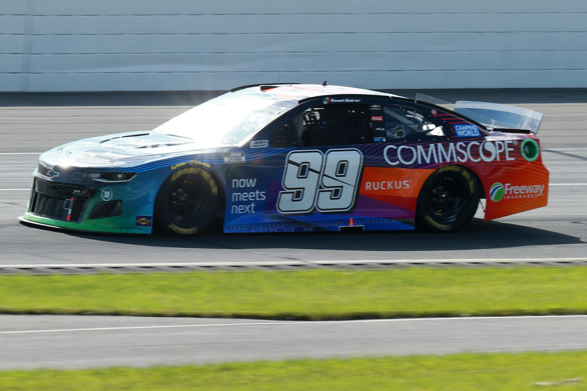 LONG POND, PENNSYLVANIA - JUNE 27: Daniel Suarez, driver of the #99 CommScope Chevrolet, drives during the NASCAR Cup Series Explore the Pocono Mountains 350 at Pocono Raceway on June 27, 2021 in Long Pond, Pennsylvania. (Photo by Sean Gardner/Getty Images) | Getty Images