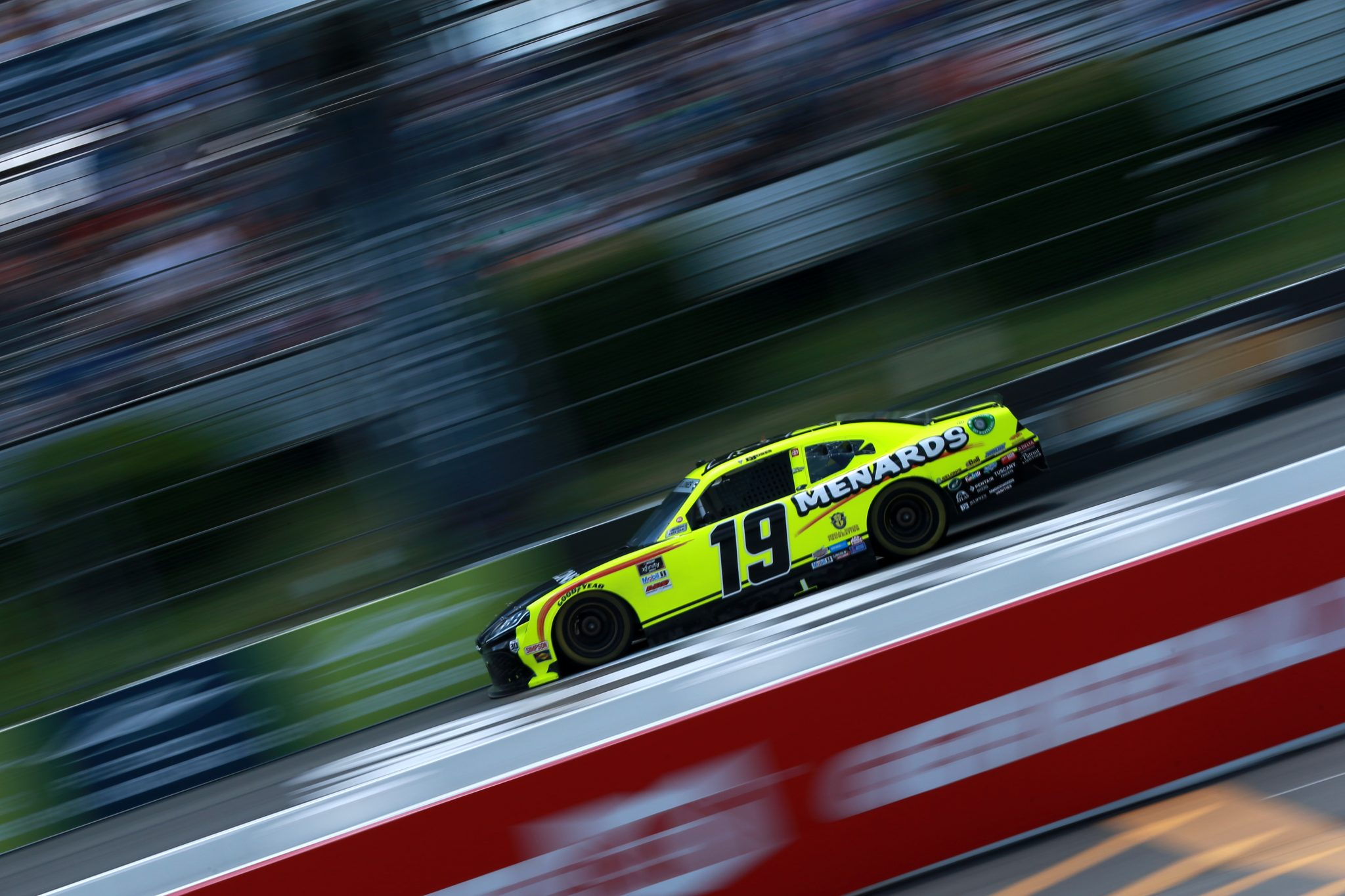 LONG POND, PENNSYLVANIA - JUNE 27: Brandon Jones, driver of the #19 Menards/Pelonis Toyota, drives during the NASCAR Xfinity Series Pocono Green 225 Recycled by J.P. Mascaro & Sons at Pocono Raceway on June 27, 2021 in Long Pond, Pennsylvania. (Photo by Sean Gardner/Getty Images) | Getty Images