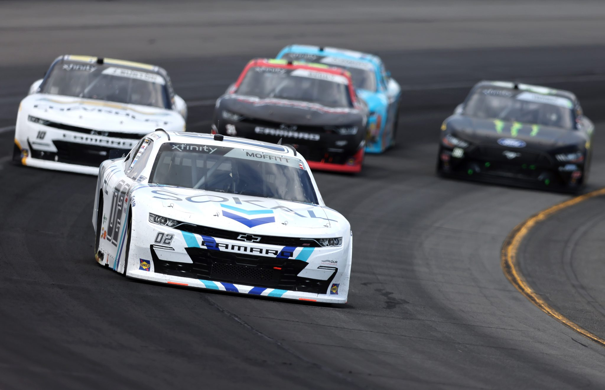 LONG POND, PENNSYLVANIA - JUNE 27: Brett Moffitt, driver of the #02 SOKAL Chevrolet, drives during the NASCAR Xfinity Series Pocono Green 225 Recycled by J.P. Mascaro & Sons at Pocono Raceway on June 27, 2021 in Long Pond, Pennsylvania. (Photo by James Gilbert/Getty Images) | Getty Images