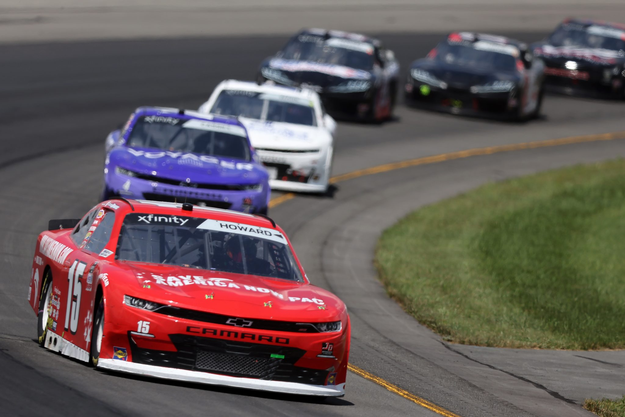 LONG POND, PENNSYLVANIA - JUNE 27: Colby Howard, driver of the #15 Save America Now PAC Chevrolet, drives during the NASCAR Xfinity Series Pocono Green 225 Recycled by J.P. Mascaro & Sons at Pocono Raceway on June 27, 2021 in Long Pond, Pennsylvania. (Photo by James Gilbert/Getty Images)   Getty Images