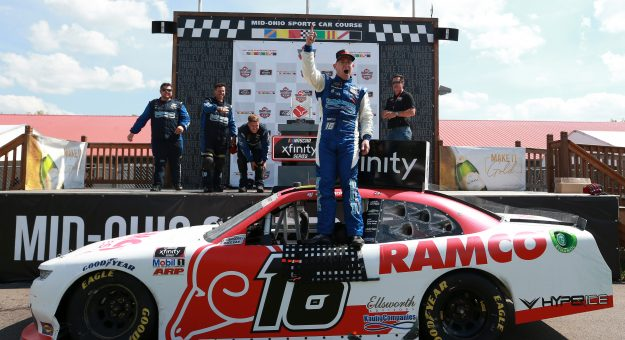 LEXINGTON, OHIO - JUNE 05: AJ Allmendinger, driver of the #16 RAMCO Specialties Inc Chevrolet, celebrates in victory lane after winning the NASCAR Xfinity Series B&L Transport 170 at Mid-Ohio Sports Car Course on June 05, 2021 in Lexington, Ohio. (Photo by Sean Gardner/Getty Images) | Getty Images