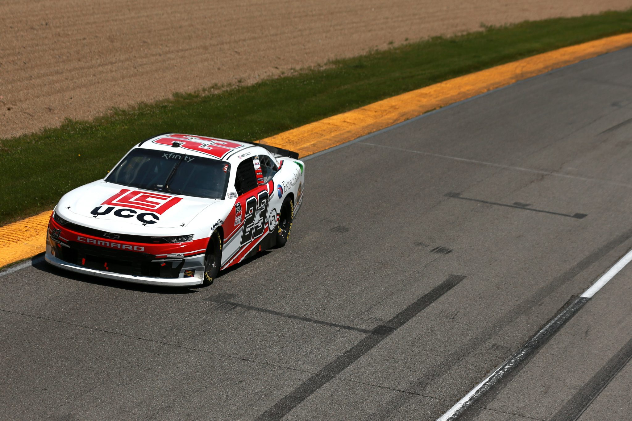 LEXINGTON, OHIO - JUNE 05: Andy Lally, driver of the #23 UCC/Energy Air Inc Chevrolet, drives during the NASCAR Xfinity Series B&L Transport 170 at Mid-Ohio Sports Car Course on June 05, 2021 in Lexington, Ohio. (Photo by Sean Gardner/Getty Images) | Getty Images