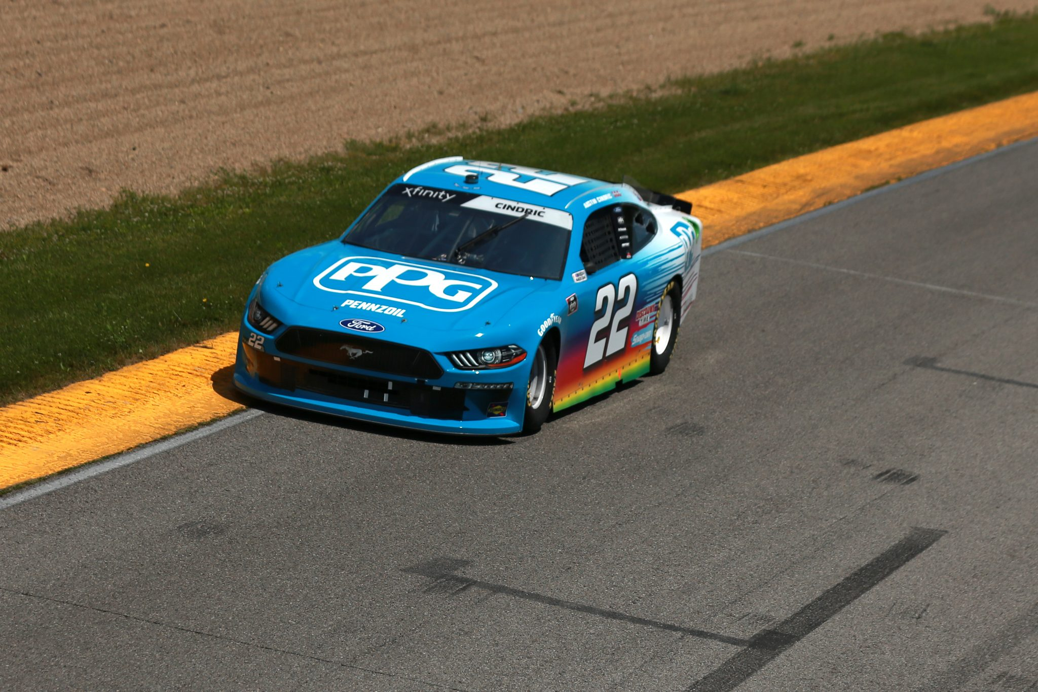 LEXINGTON, OHIO - JUNE 05: Austin Cindric, driver of the #22 PPG Ford, drives during the NASCAR Xfinity Series B&L Transport 170 at Mid-Ohio Sports Car Course on June 05, 2021 in Lexington, Ohio. (Photo by Sean Gardner/Getty Images) | Getty Images