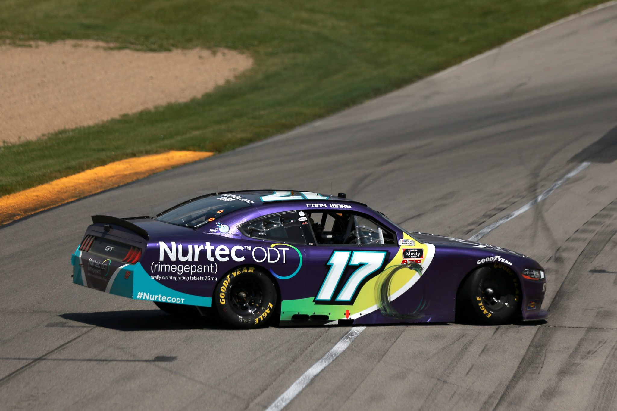 LEXINGTON, OHIO - JUNE 05: Cody Ware, driver of the #17 Nurtec ODT Ford, spins after an on-track incident during the NASCAR Xfinity Series B&L Transport 170 at Mid-Ohio Sports Car Course on June 05, 2021 in Lexington, Ohio. (Photo by Sean Gardner/Getty Images)   Getty Images