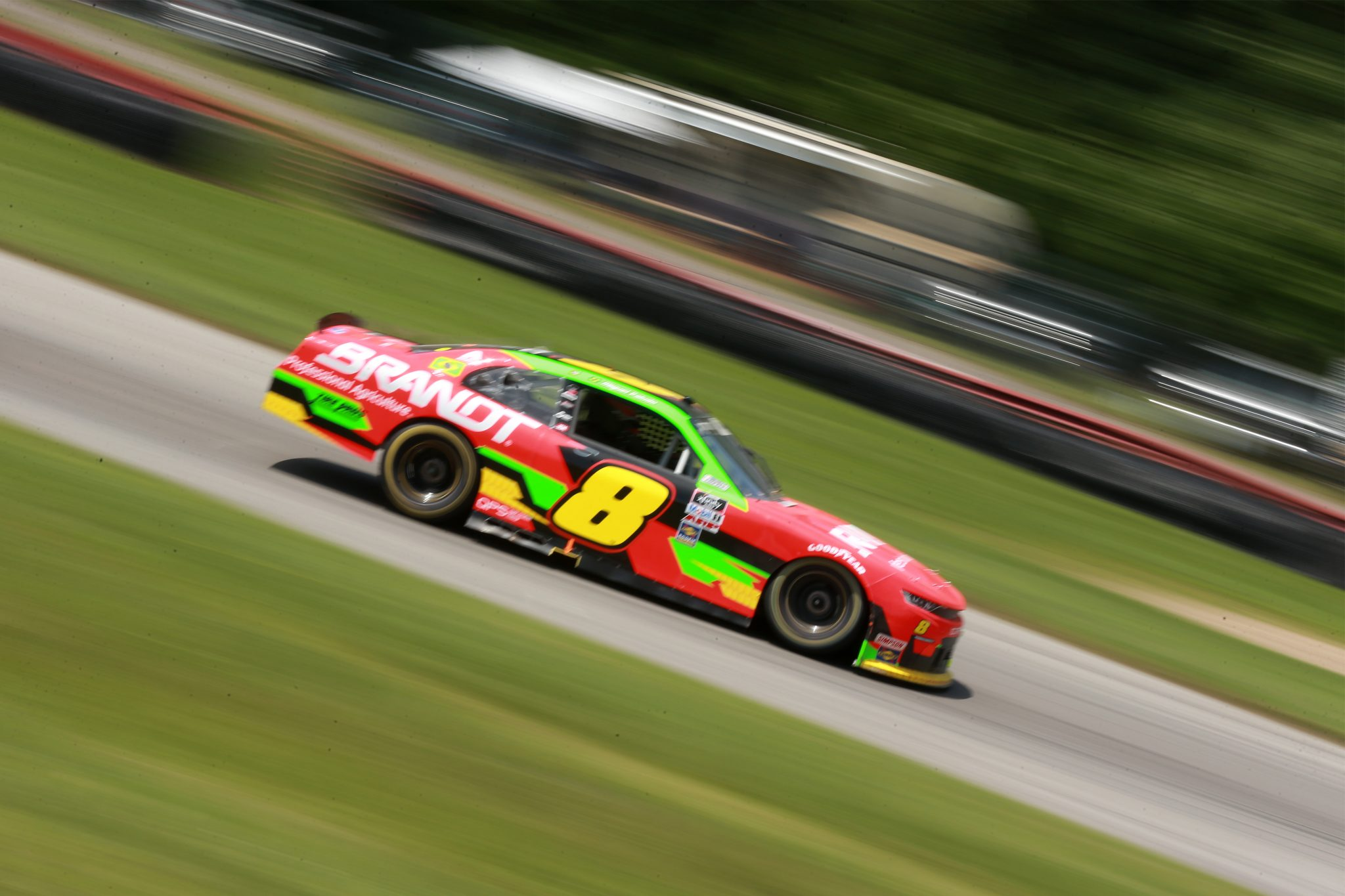 LEXINGTON, OHIO - JUNE 05: Miguel Paludo, driver of the #8 BRANDT Chevrolet, drives during the NASCAR Xfinity Series B&L Transport 170 at Mid-Ohio Sports Car Course on June 05, 2021 in Lexington, Ohio. (Photo by Sean Gardner/Getty Images) | Getty Images
