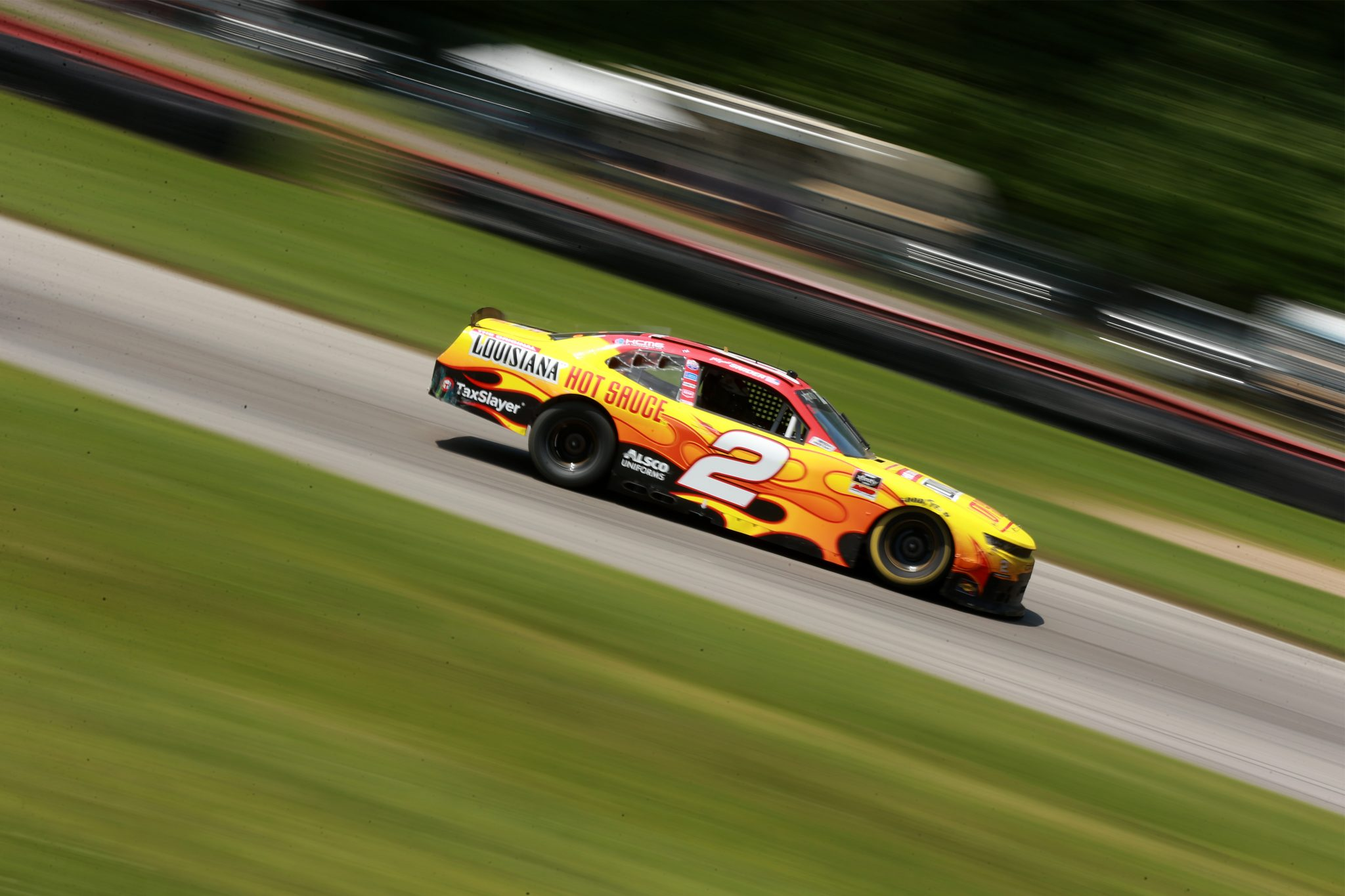 LEXINGTON, OHIO - JUNE 05: Myatt Snider, driver of the #2 Louisiana Hot Sauce Chevrolet, drives during the NASCAR Xfinity Series B&L Transport 170 at Mid-Ohio Sports Car Course on June 05, 2021 in Lexington, Ohio. (Photo by Sean Gardner/Getty Images) | Getty Images