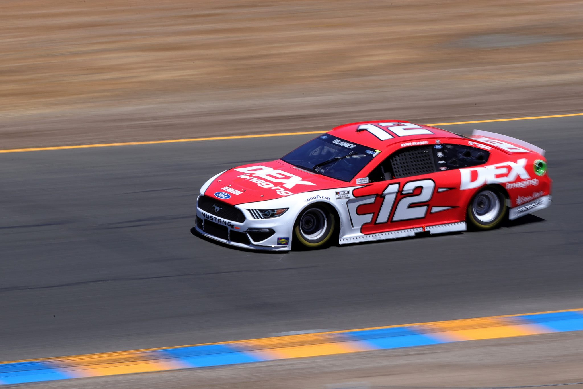 SONOMA, CALIFORNIA - JUNE 06: Ryan Blaney, driver of the #12 DEX Imaging Ford, drives during the NASCAR Cup Series Toyota/Save Mart 350 at Sonoma Raceway on June 06, 2021 in Sonoma, California. (Photo by Carmen Mandato/Getty Images) | Getty Images