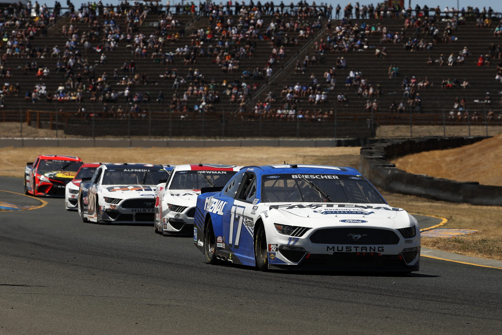 SONOMA, CALIFORNIA - JUNE 06: Chris Buescher, driver of the #17 Fastenal Ford, drives during the NASCAR Cup Series Toyota/Save Mart 350 at Sonoma Raceway on June 06, 2021 in Sonoma, California. (Photo by Maddie Meyer/Getty Images) | Getty Images