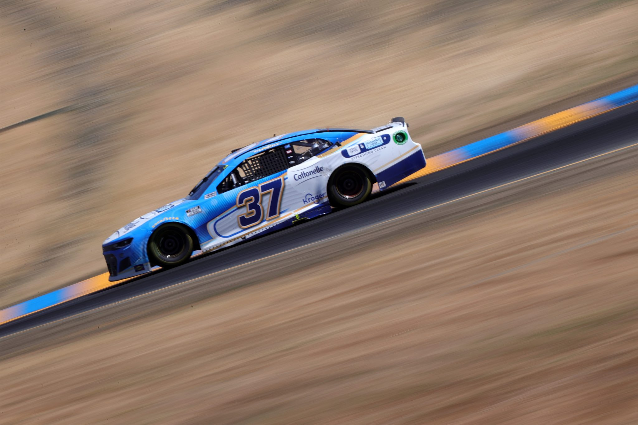 SONOMA, CALIFORNIA - JUNE 06: Ryan Preece, driver of the #37 Cottonelle Chevrolet, drives during the NASCAR Cup Series Toyota/Save Mart 350 at Sonoma Raceway on June 06, 2021 in Sonoma, California. (Photo by Carmen Mandato/Getty Images) | Getty Images