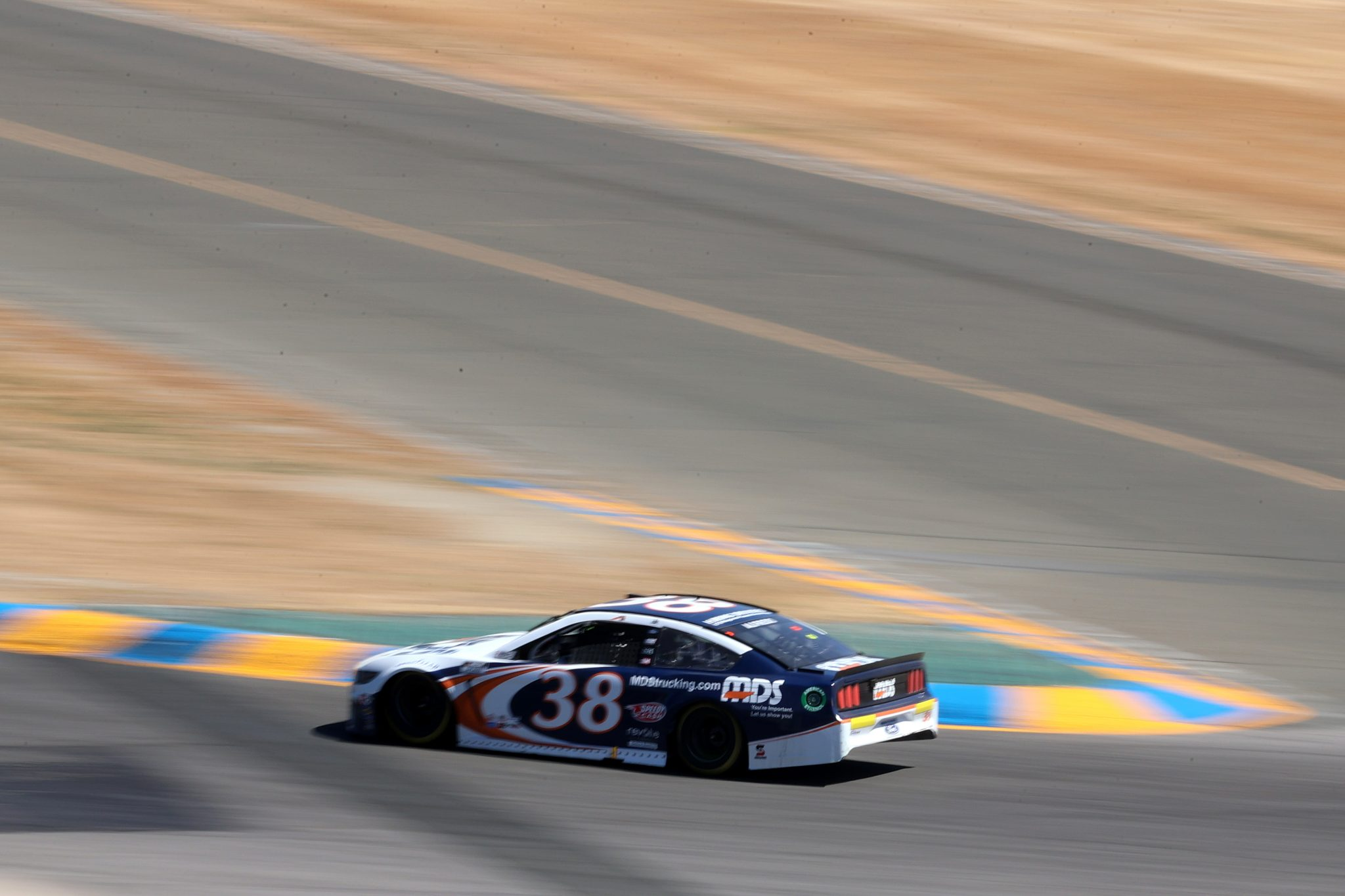 SONOMA, CALIFORNIA - JUNE 06: Anthony Alfredo, driver of the #38 MDS Ford, drives during the NASCAR Cup Series Toyota/Save Mart 350 at Sonoma Raceway on June 06, 2021 in Sonoma, California. (Photo by Carmen Mandato/Getty Images) | Getty Images