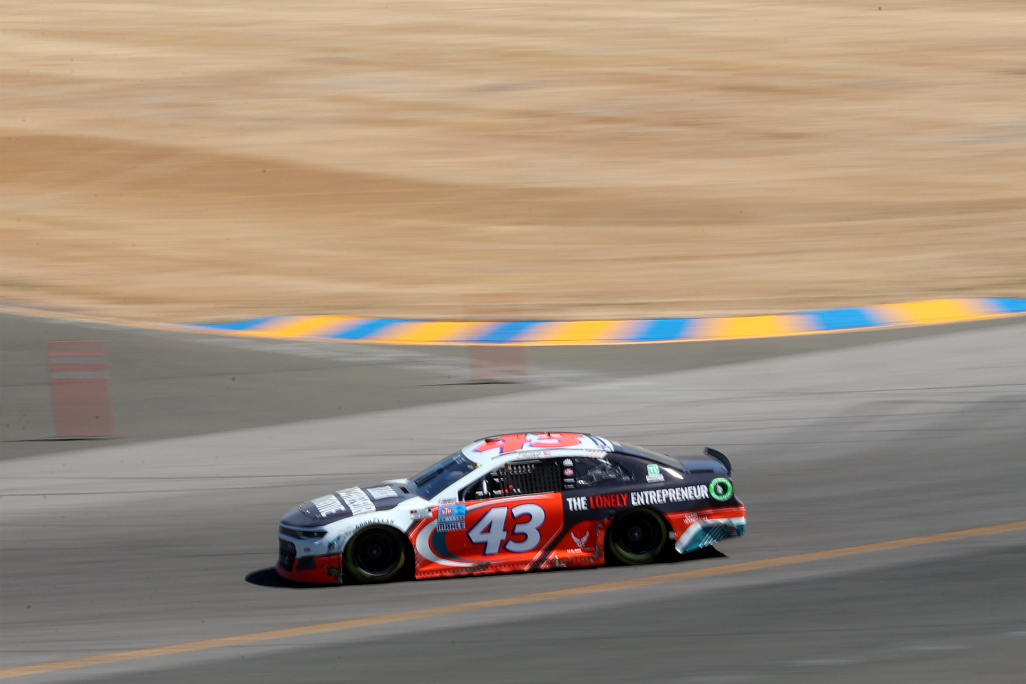 SONOMA, CALIFORNIA - JUNE 06: Erik Jones, driver of the #43 Black Entrepreneur Initiative Chevrolet, drives during the NASCAR Cup Series Toyota/Save Mart 350 at Sonoma Raceway on June 06, 2021 in Sonoma, California. (Photo by Carmen Mandato/Getty Images) | Getty Images