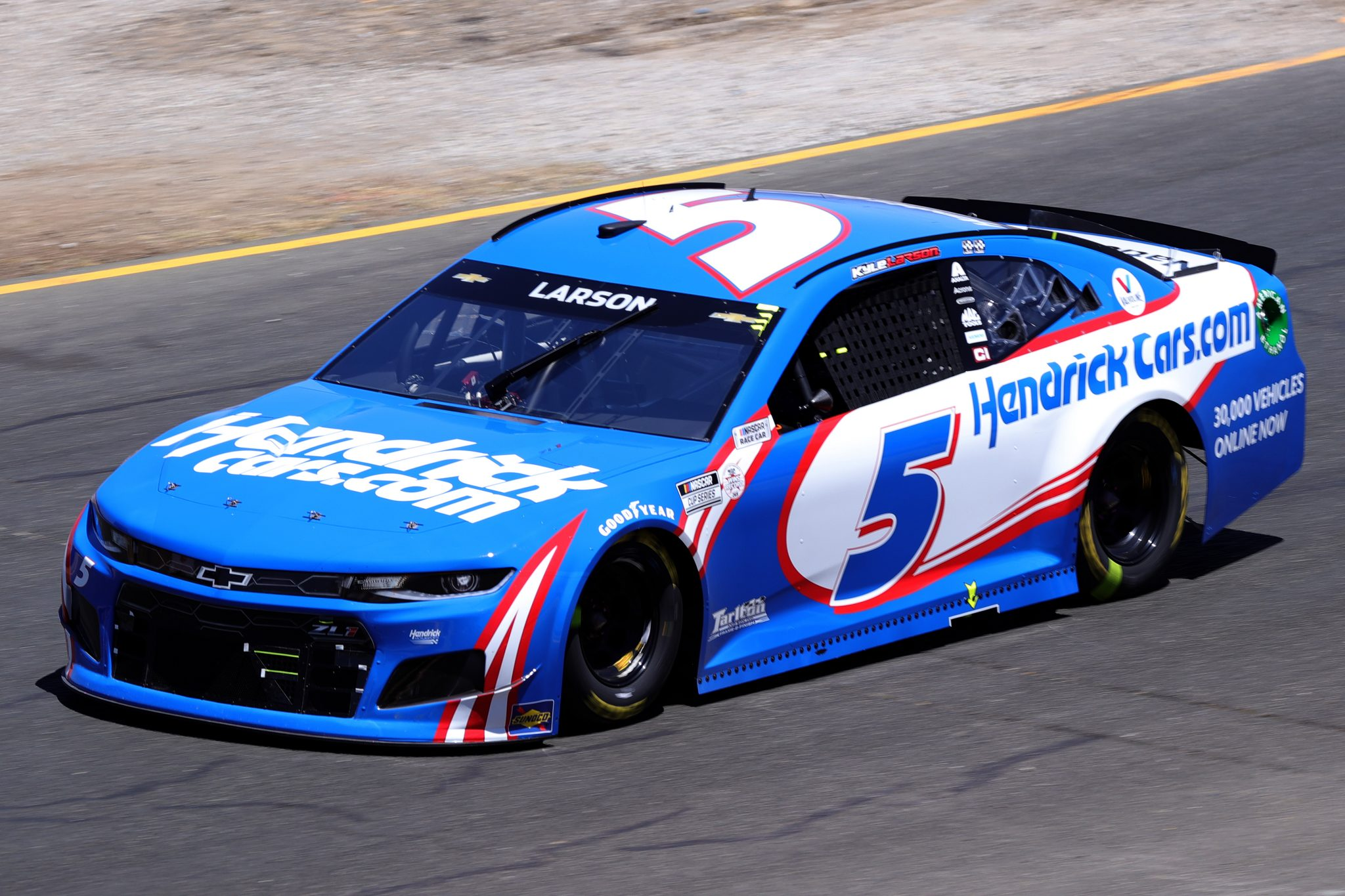 SONOMA, CALIFORNIA - JUNE 06: Kyle Larson, driver of the #5 HendrickCars.com Chevrolet, drives during the NASCAR Cup Series Toyota/Save Mart 350 at Sonoma Raceway on June 06, 2021 in Sonoma, California. (Photo by Carmen Mandato/Getty Images) | Getty Images