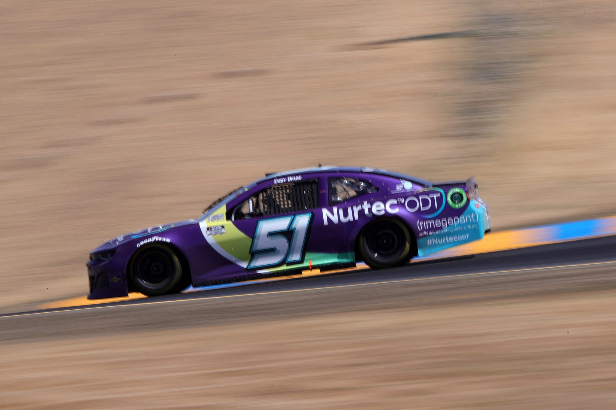 SONOMA, CALIFORNIA - JUNE 06: Cody Ware, driver of the #51 Nurtec ODT Chevrolet, drives during the NASCAR Cup Series Toyota/Save Mart 350 at Sonoma Raceway on June 06, 2021 in Sonoma, California. (Photo by Carmen Mandato/Getty Images) | Getty Images