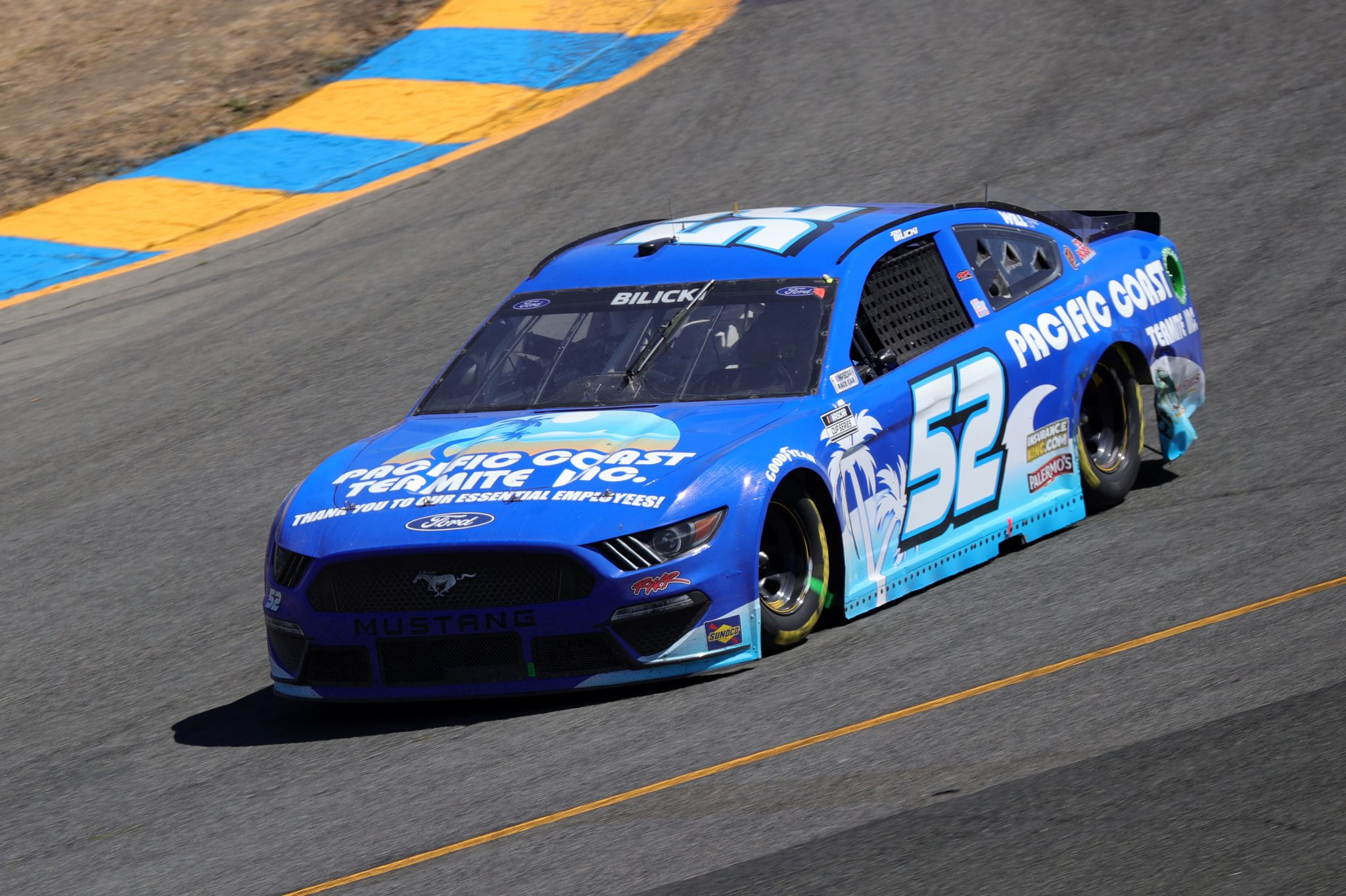 SONOMA, CALIFORNIA - JUNE 06: Josh Bilicki, driver of the #52 Pacific Coast Termite, Inc. Ford, drives during the NASCAR Cup Series Toyota/Save Mart 350 at Sonoma Raceway on June 06, 2021 in Sonoma, California. (Photo by Carmen Mandato/Getty Images) | Getty Images