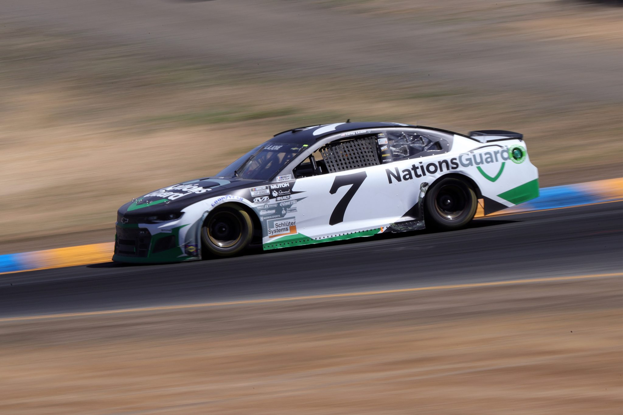 SONOMA, CALIFORNIA - JUNE 06: Corey LaJoie, driver of the #7 Nations Guard Chevrolet, drives during the NASCAR Cup Series Toyota/Save Mart 350 at Sonoma Raceway on June 06, 2021 in Sonoma, California. (Photo by Carmen Mandato/Getty Images) | Getty Images