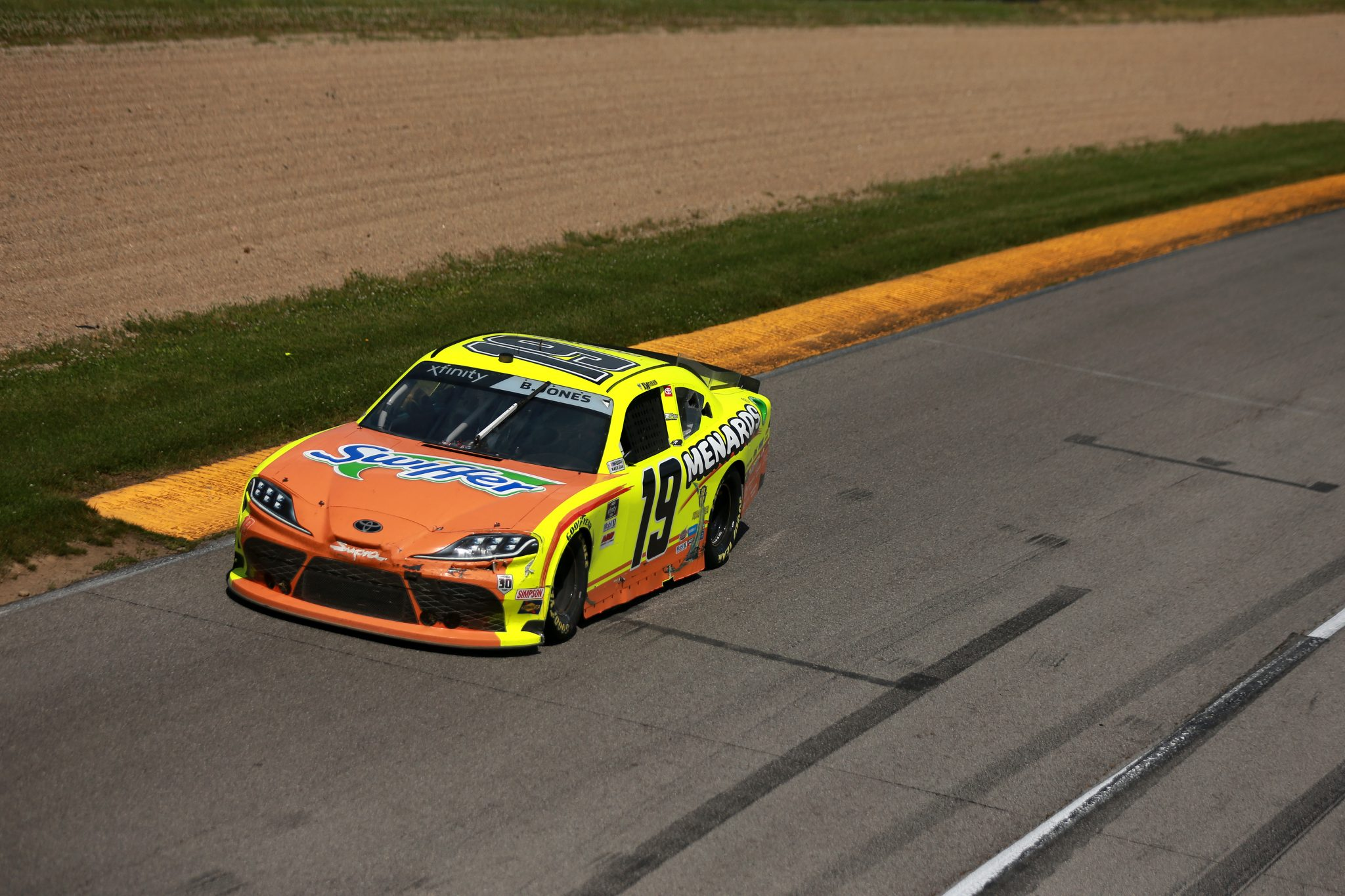 LEXINGTON, OHIO - JUNE 05: Brandon Jones, driver of the #19 Menards/Swiffer Toyota, drives during the NASCAR Xfinity Series B&L Transport 170 at Mid-Ohio Sports Car Course on June 05, 2021 in Lexington, Ohio. (Photo by Sean Gardner/Getty Images) | Getty Images