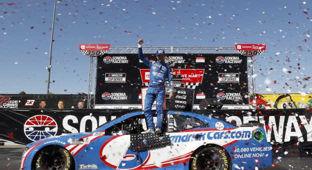 SONOMA, CALIFORNIA - JUNE 06: Kyle Larson, driver of the #5 HendrickCars.com Chevrolet, celebrates in victory lane after winning the NASCAR Cup Series Toyota/Save Mart 350 at Sonoma Raceway on June 06, 2021 in Sonoma, California. (Photo by Maddie Meyer/Getty Images) | Getty Images