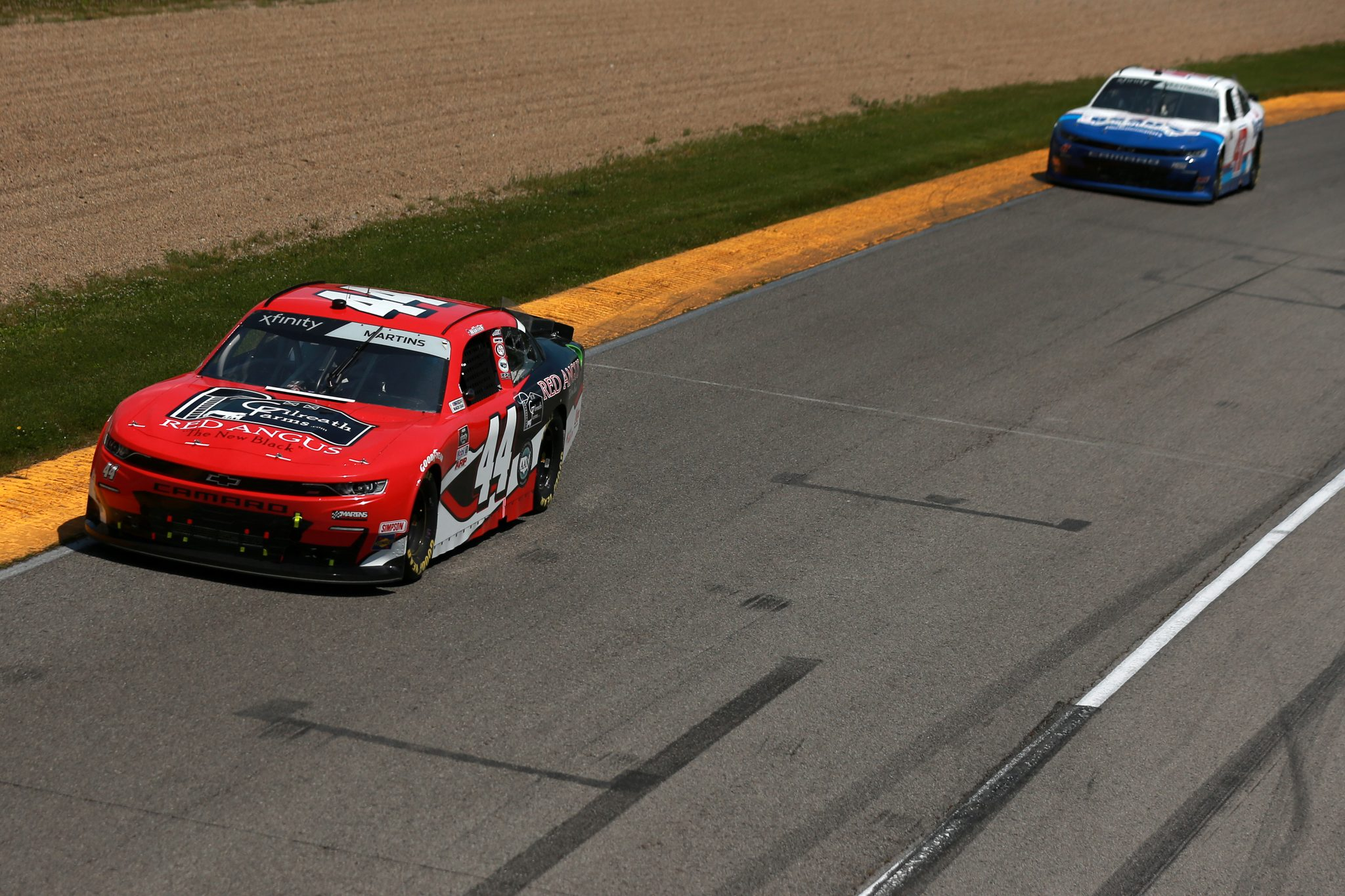 LEXINGTON, OHIO - JUNE 05: Tommy Joe Martins, driver of the #44 Gilreath Farms Red Angus Chevrolet, drives during the NASCAR Xfinity Series B&L Transport 170 at Mid-Ohio Sports Car Course on June 05, 2021 in Lexington, Ohio. (Photo by Sean Gardner/Getty Images) | Getty Images