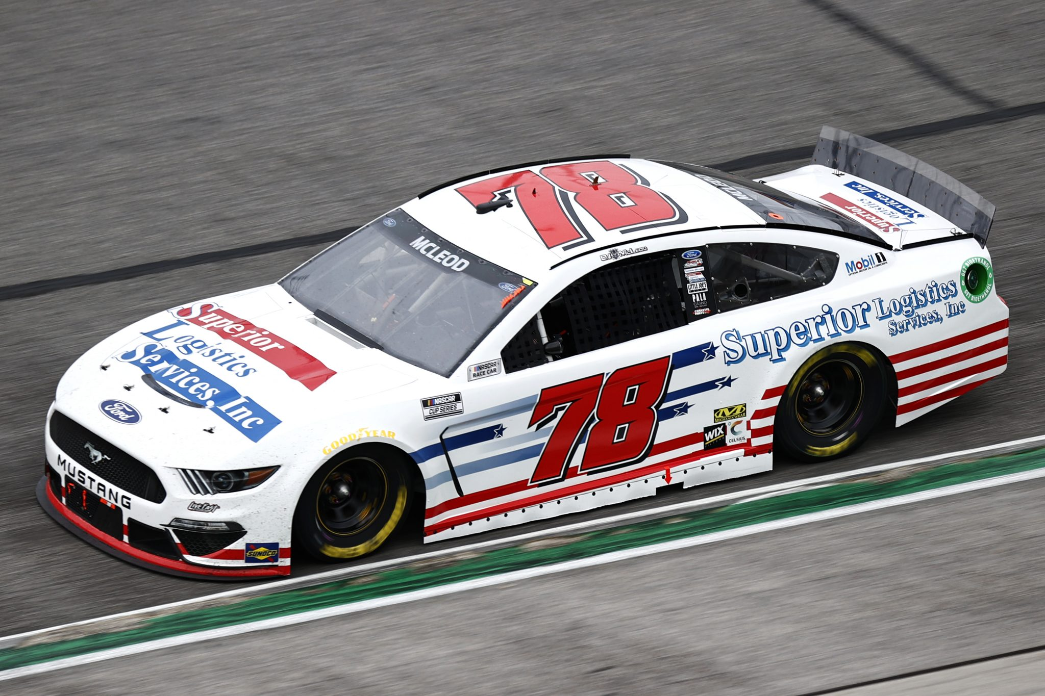 HAMPTON, GEORGIA - JULY 11: BJ McLeod, driver of the #78 Superior Logistics Services Ford, drives during the NASCAR Cup Series Quaker State 400 presented by Walmart at Atlanta Motor Speedway on July 11, 2021 in Hampton, Georgia. (Photo by Jared C. Tilton/Getty Images)   Getty Images
