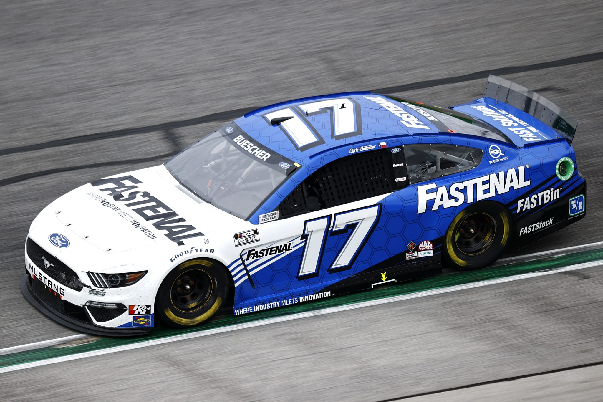 HAMPTON, GEORGIA - JULY 11: Chris Buescher, driver of the #17 Fastenal Ford, drives during the NASCAR Cup Series Quaker State 400 presented by Walmart at Atlanta Motor Speedway on July 11, 2021 in Hampton, Georgia. (Photo by Jared C. Tilton/Getty Images) | Getty Images