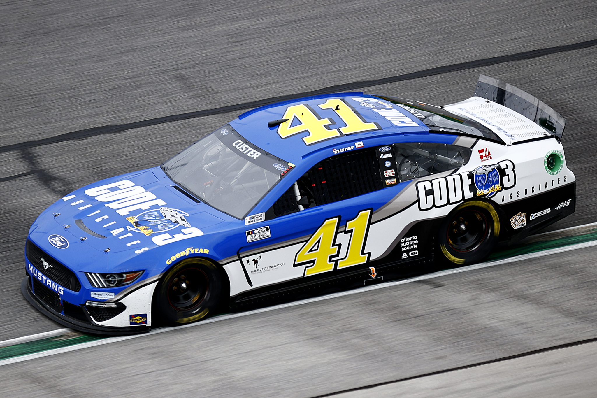 HAMPTON, GEORGIA - JULY 11: Cole Custer, driver of the #41 Code 3 Associates Ford, drives during the NASCAR Cup Series Quaker State 400 presented by Walmart at Atlanta Motor Speedway on July 11, 2021 in Hampton, Georgia. (Photo by Jared C. Tilton/Getty Images) | Getty Images