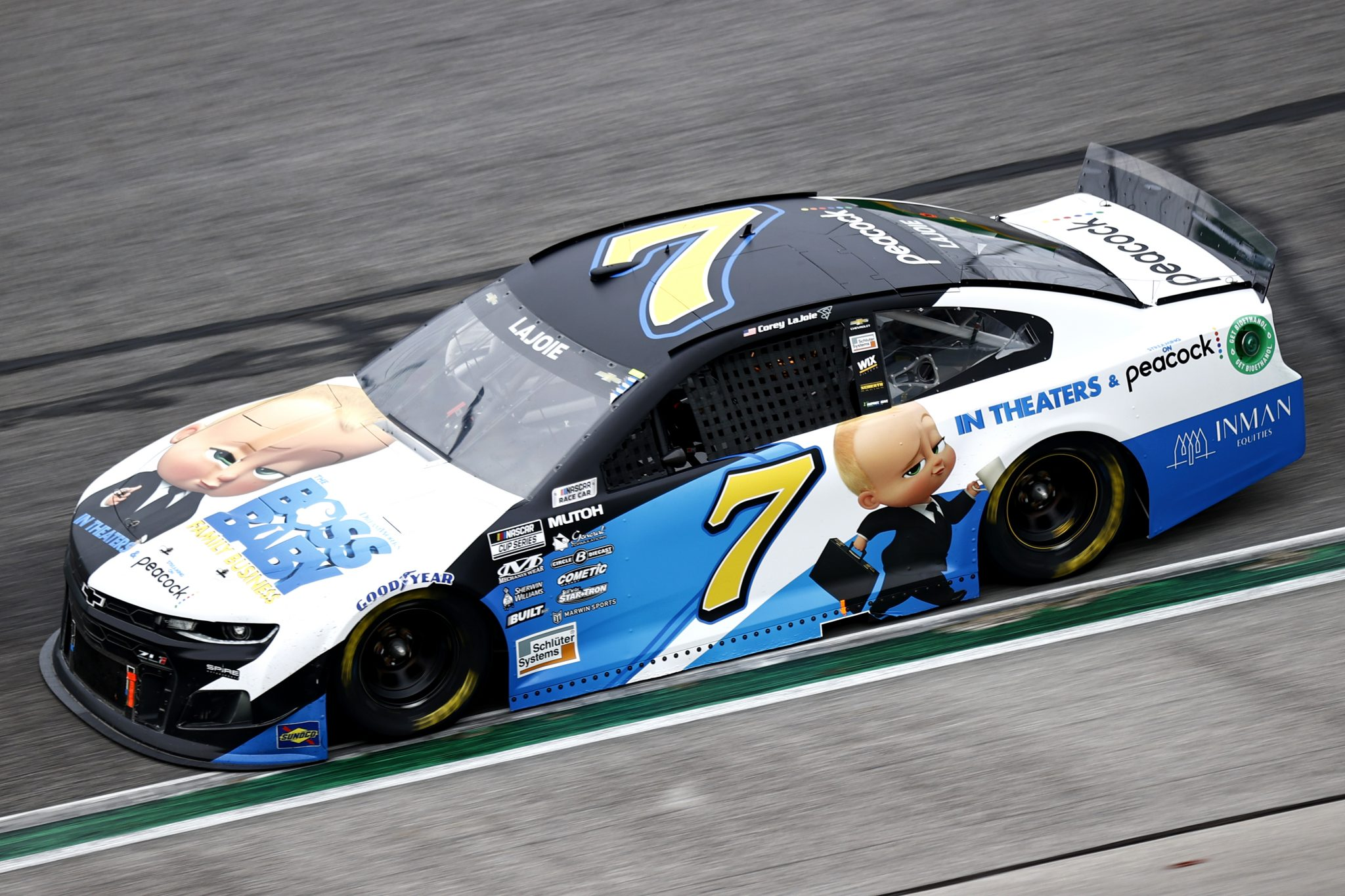 HAMPTON, GEORGIA - JULY 11: Corey LaJoie, driver of the #7 The Boss Baby: Family Business Chevrolet, drives during the NASCAR Cup Series Quaker State 400 presented by Walmart at Atlanta Motor Speedway on July 11, 2021 in Hampton, Georgia. (Photo by Jared C. Tilton/Getty Images)   Getty Images