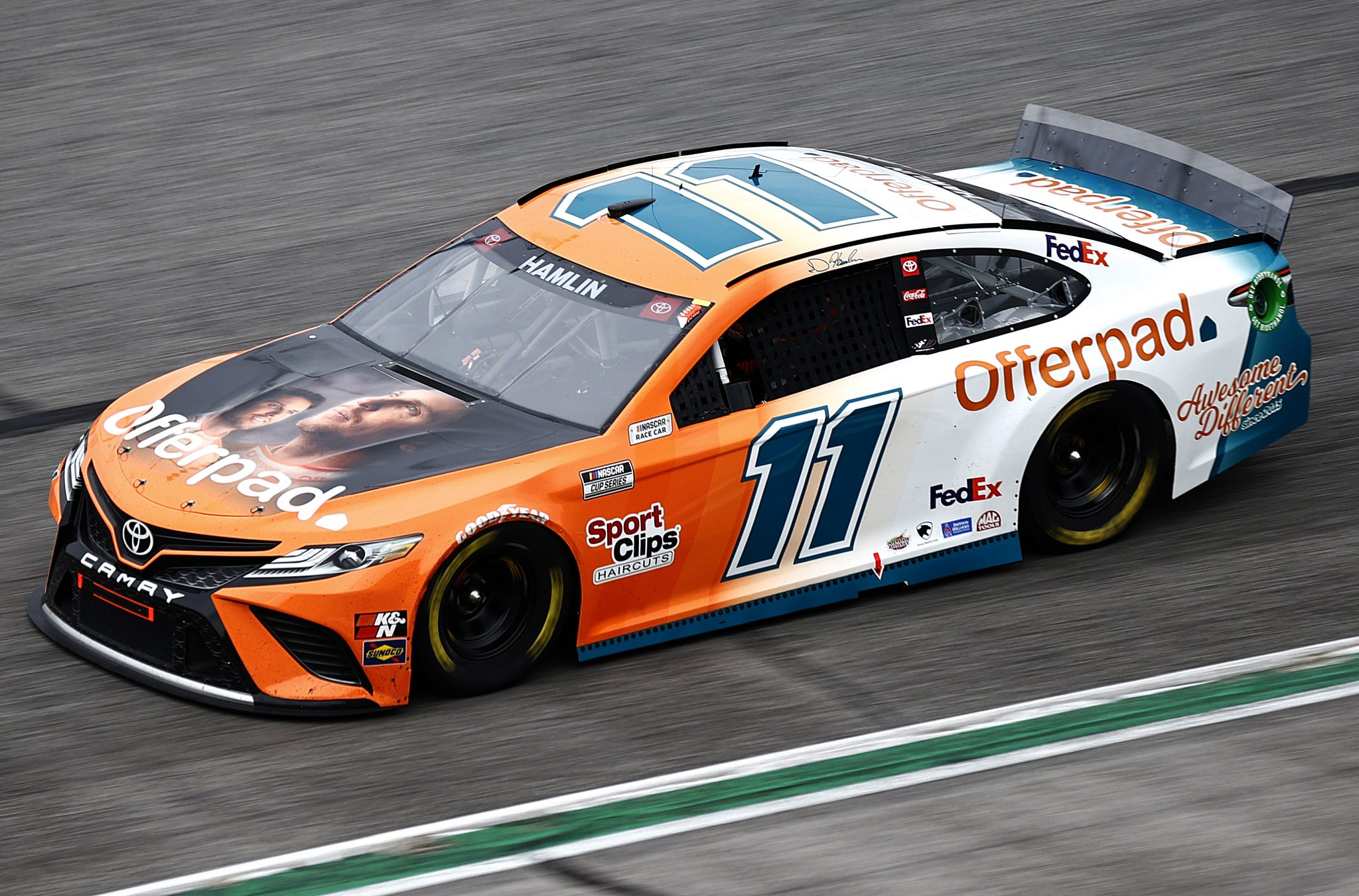 HAMPTON, GEORGIA - JULY 11: Denny Hamlin, driver of the #11 Offerpad Awesome Different Toyota, drives during the NASCAR Cup Series Quaker State 400 presented by Walmart at Atlanta Motor Speedway on July 11, 2021 in Hampton, Georgia. (Photo by Jared C. Tilton/Getty Images)   Getty Images