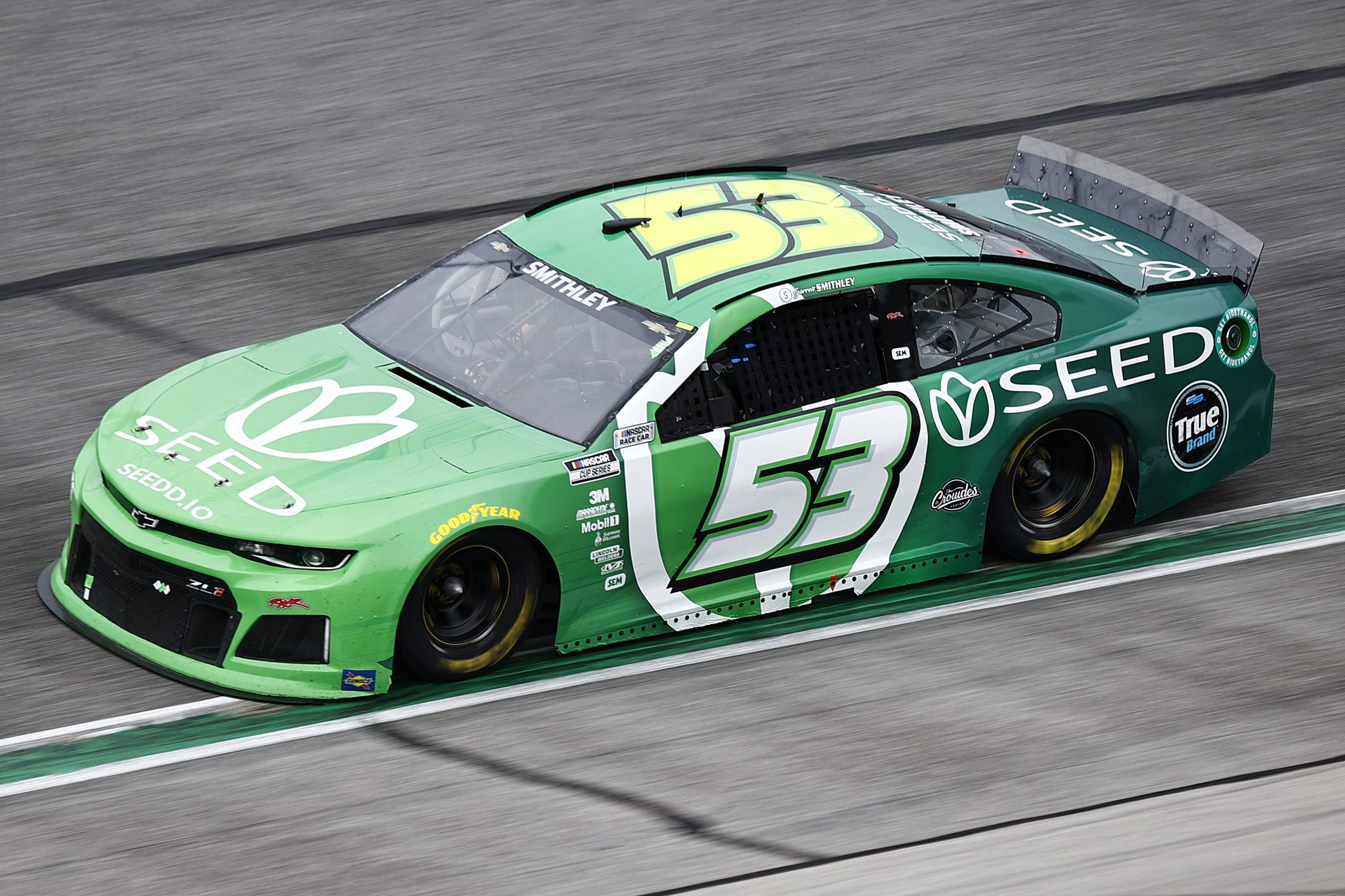 HAMPTON, GEORGIA - JULY 11: Garrett Smithley, driver of the #53 SEED Token Chevrolet, drives during the NASCAR Cup Series Quaker State 400 presented by Walmart at Atlanta Motor Speedway on July 11, 2021 in Hampton, Georgia. (Photo by Jared C. Tilton/Getty Images) | Getty Images