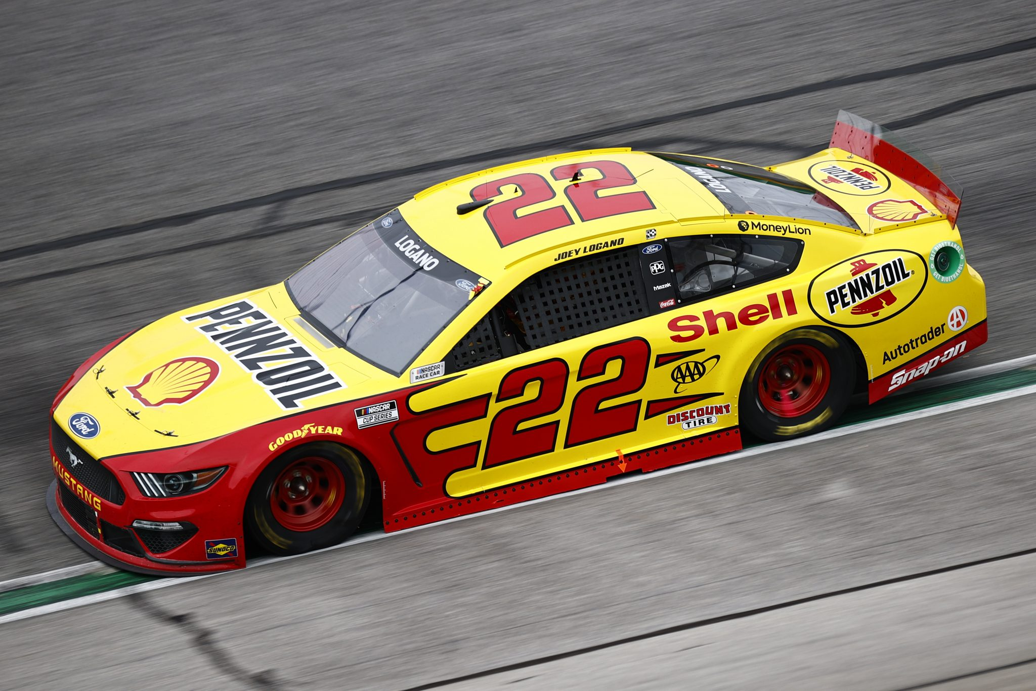 HAMPTON, GEORGIA - JULY 11: Joey Logano, driver of the #22 Shell Pennzoil Ford, drives during the NASCAR Cup Series Quaker State 400 presented by Walmart at Atlanta Motor Speedway on July 11, 2021 in Hampton, Georgia. (Photo by Jared C. Tilton/Getty Images) | Getty Images
