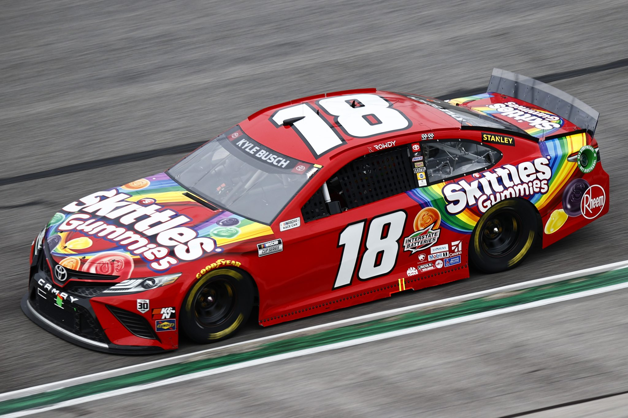 HAMPTON, GEORGIA - JULY 11: Kyle Busch, driver of the #18 Skittles Gummies Toyota, drives during the NASCAR Cup Series Quaker State 400 presented by Walmart at Atlanta Motor Speedway on July 11, 2021 in Hampton, Georgia. (Photo by Jared C. Tilton/Getty Images) | Getty Images