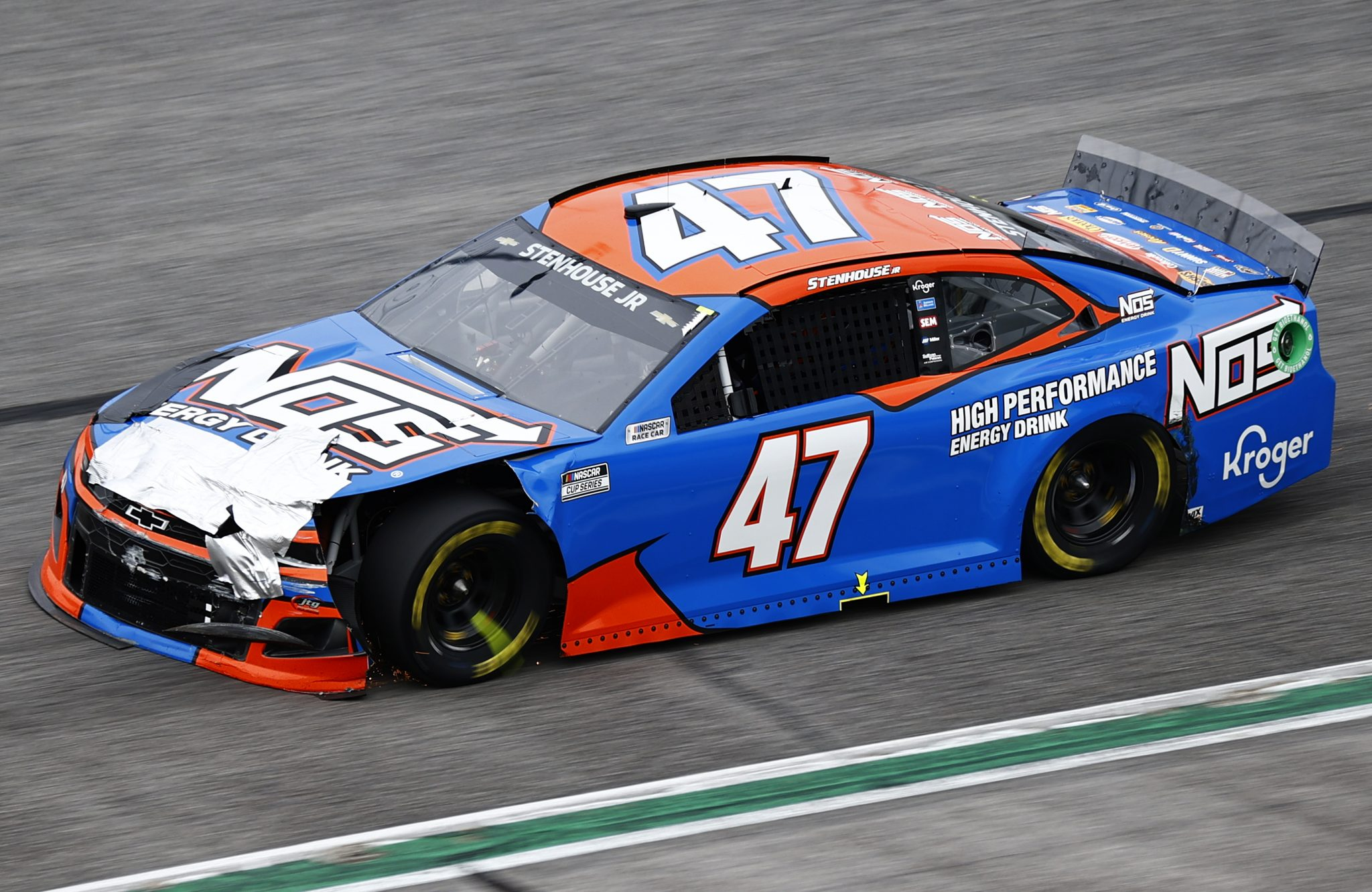 HAMPTON, GEORGIA - JULY 11: Ricky Stenhouse Jr., driver of the #47 NOS Energy Drink Chevrolet, drives during the NASCAR Cup Series Quaker State 400 presented by Walmart at Atlanta Motor Speedway on July 11, 2021 in Hampton, Georgia. (Photo by Jared C. Tilton/Getty Images)   Getty Images