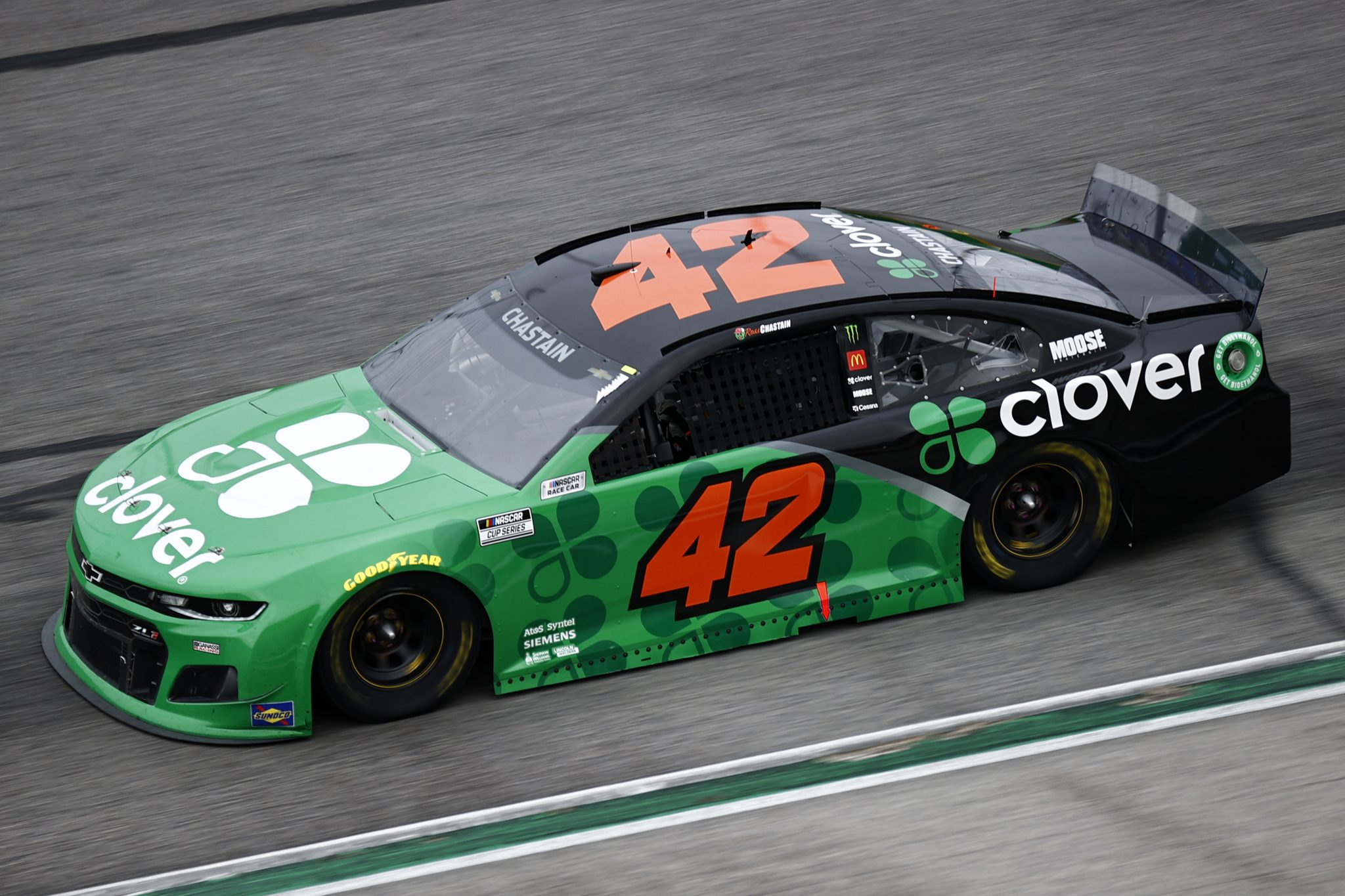HAMPTON, GEORGIA - JULY 11: Ross Chastain, driver of the #42 Clover Chevrolet, drives during the NASCAR Cup Series Quaker State 400 presented by Walmart at Atlanta Motor Speedway on July 11, 2021 in Hampton, Georgia. (Photo by Jared C. Tilton/Getty Images) | Getty Images